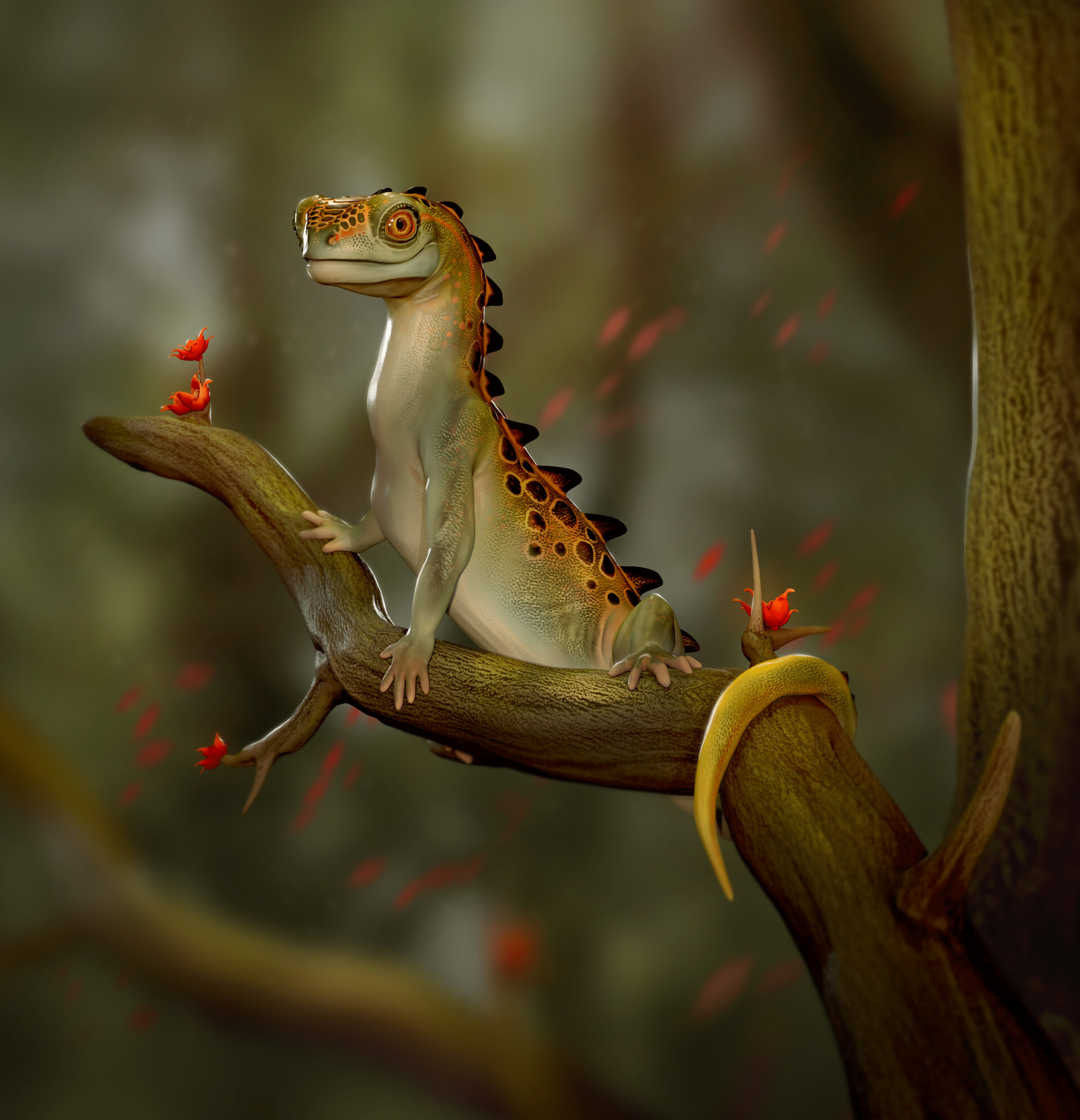 68163 download wallpaper Funny, Art, Lizard, Reptile screensavers and pictures for free
