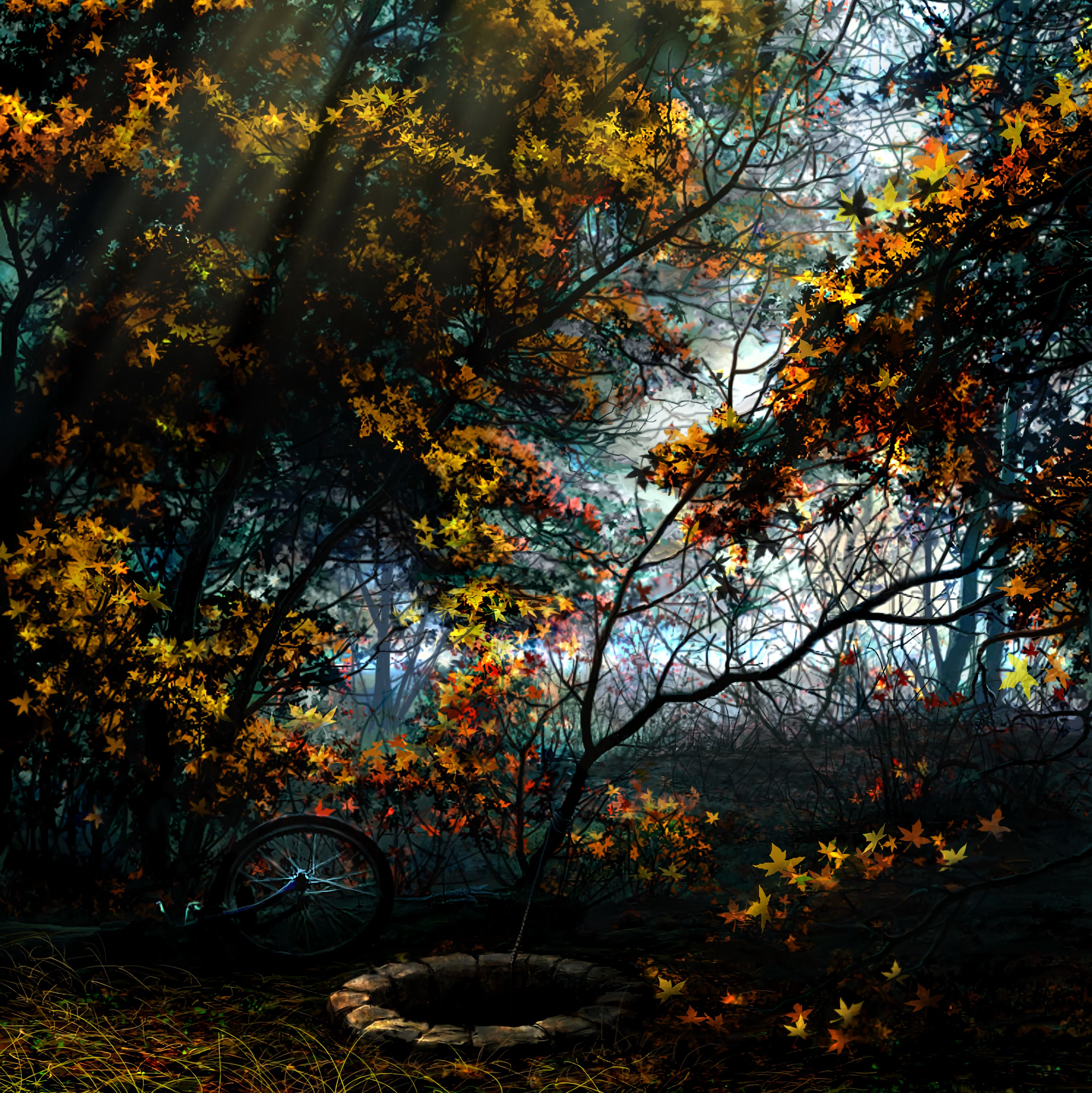 104440 download wallpaper Art, Trees, Autumn, Forest, Foliage, Bicycle, Well screensavers and pictures for free