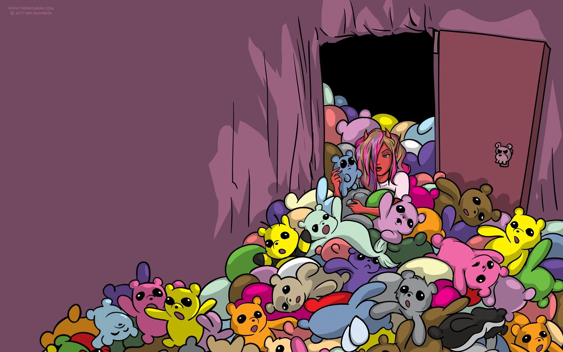57921 Screensavers and Wallpapers Toys for phone. Download Toys, Vector, Door, Lots Of, Multitude, Teddy Bears pictures for free