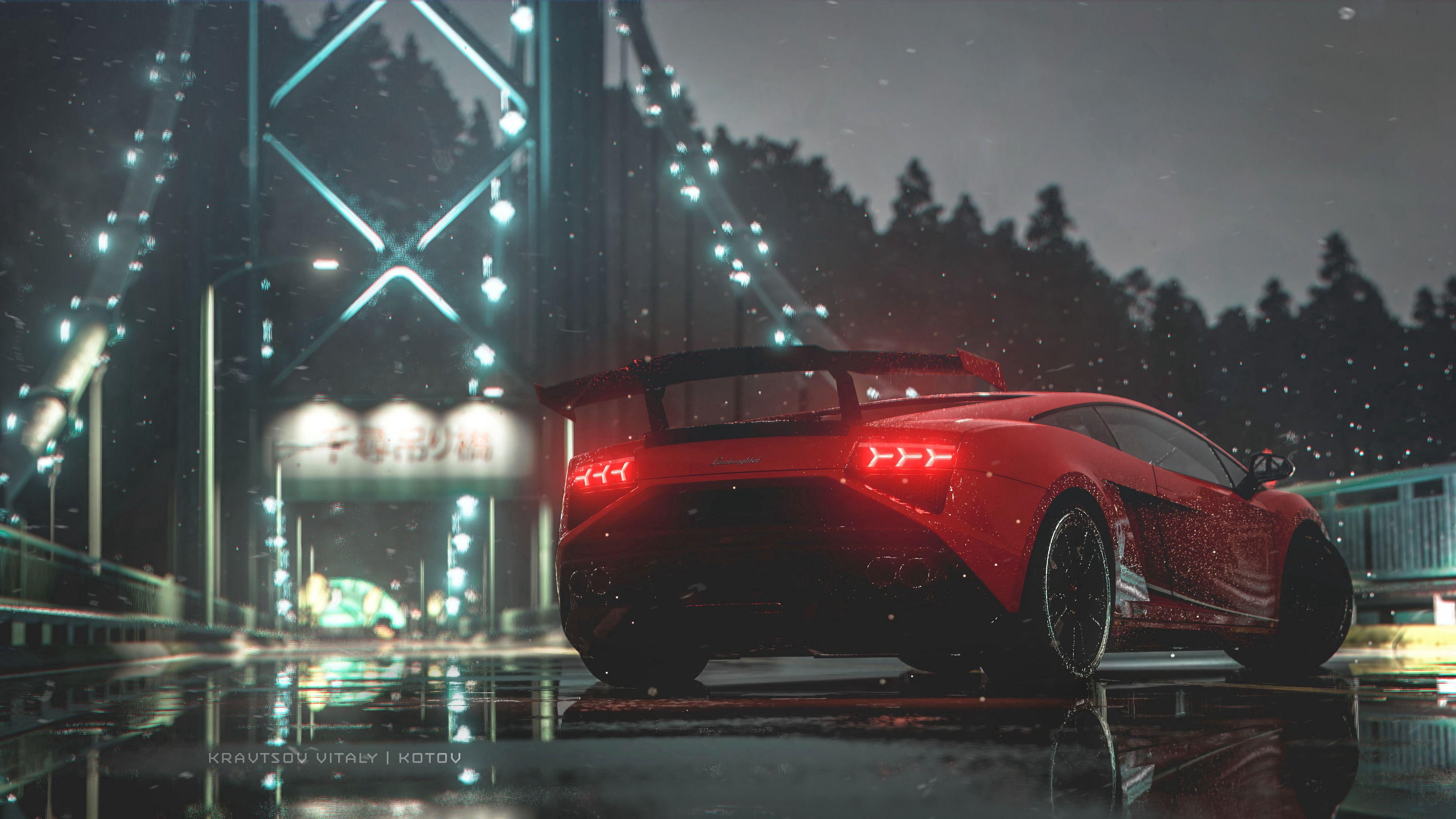147301 Hintergrundbild herunterladen Cars, Sport, Auto, Nass, Maschine, Hintergrundbeleuchtung, Beleuchtung, Sportwagen, Seitenansicht - Bildschirmschoner und Bilder kostenlos
