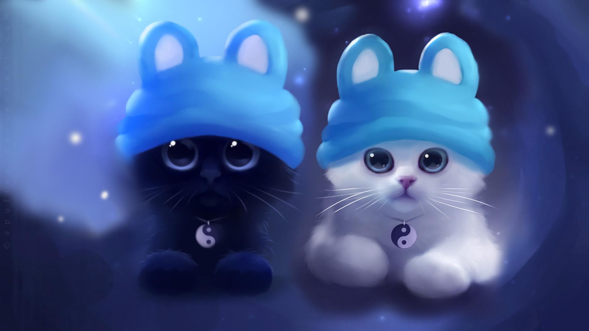 24042 скачать обои Кошки (Коты, Котики), Рисунки, Животные - заставки и картинки бесплатно