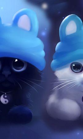 24042 завантажити шпалери Тварини, Кішки, Малюнки - заставки і картинки безкоштовно
