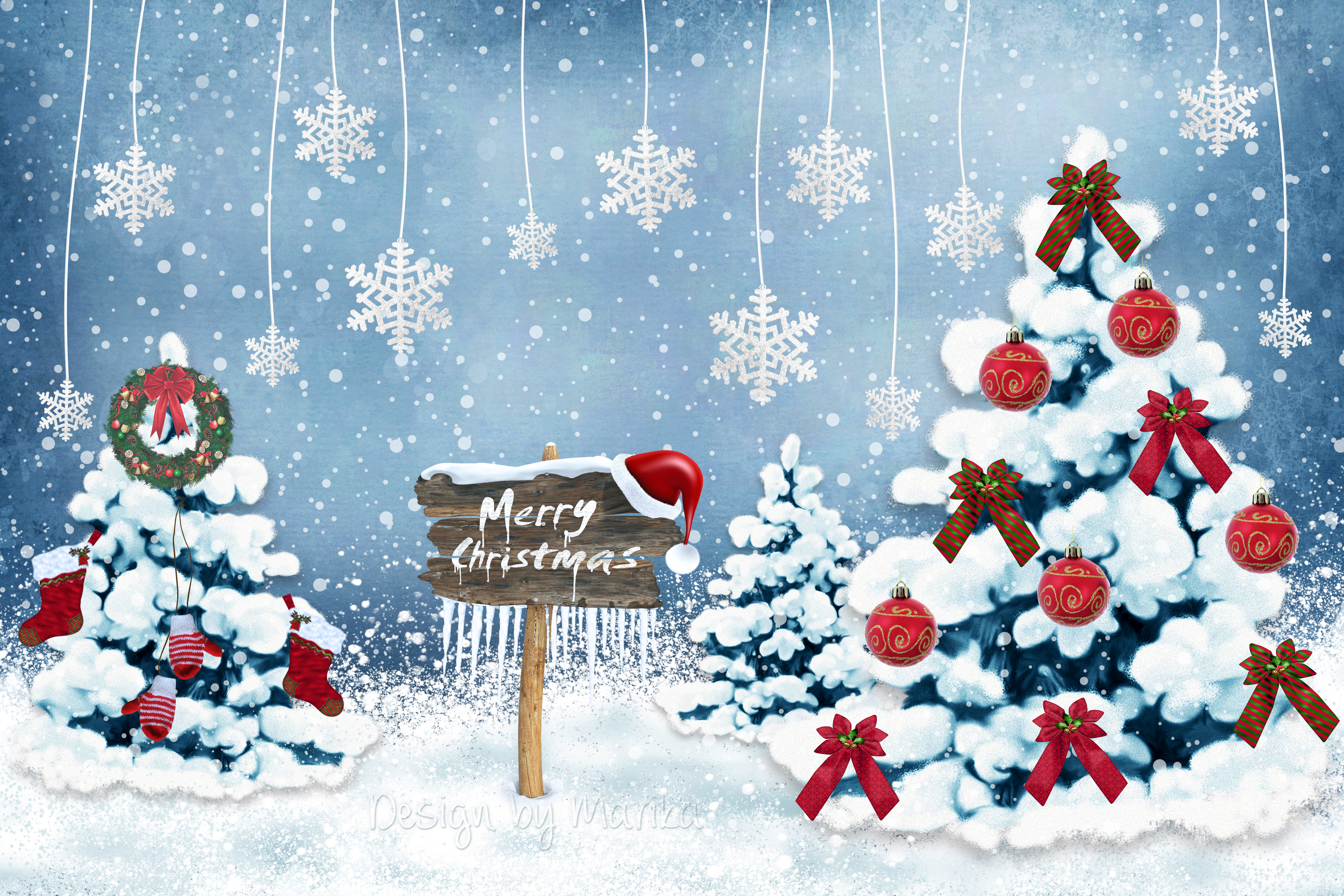 140480 download wallpaper Holidays, New Year, Christmas, Postcard, Snowflakes, Decorations, Fir-Trees screensavers and pictures for free