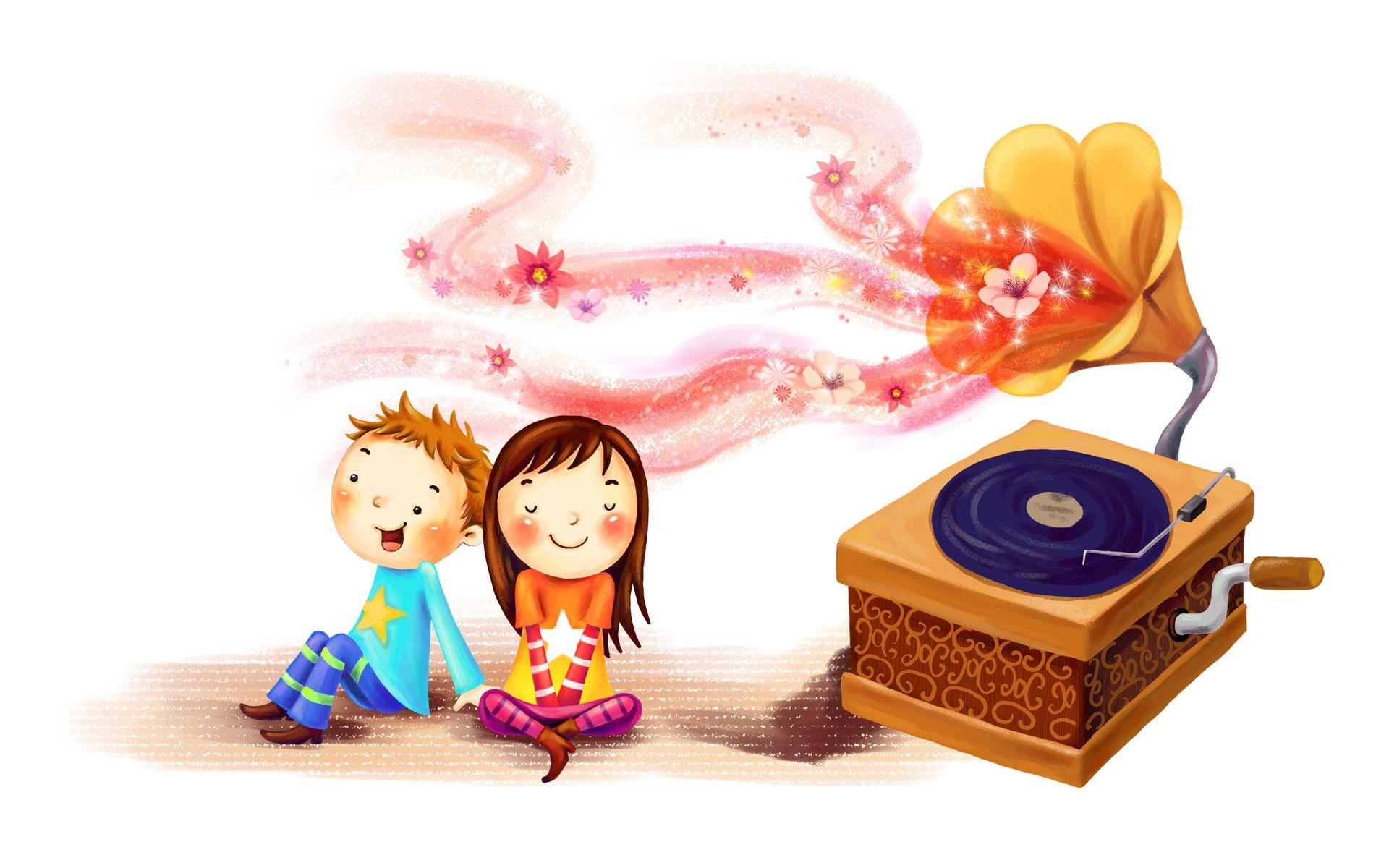 116230 скачать обои Любовь, Рисунок, Дети, Девочка, Мальчик, Радость, Вместе, Вихры, Румянец, Граммофон, Пластинка - заставки и картинки бесплатно