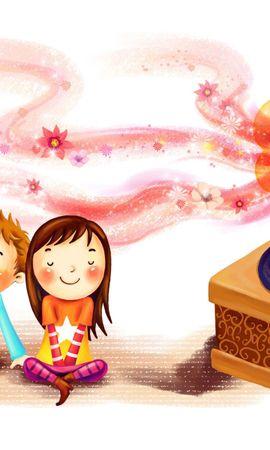 116230 Заставки и Обои Дети на телефон. Скачать Любовь, Рисунок, Дети, Девочка, Мальчик, Радость, Вместе, Вихры, Румянец, Граммофон, Пластинка картинки бесплатно