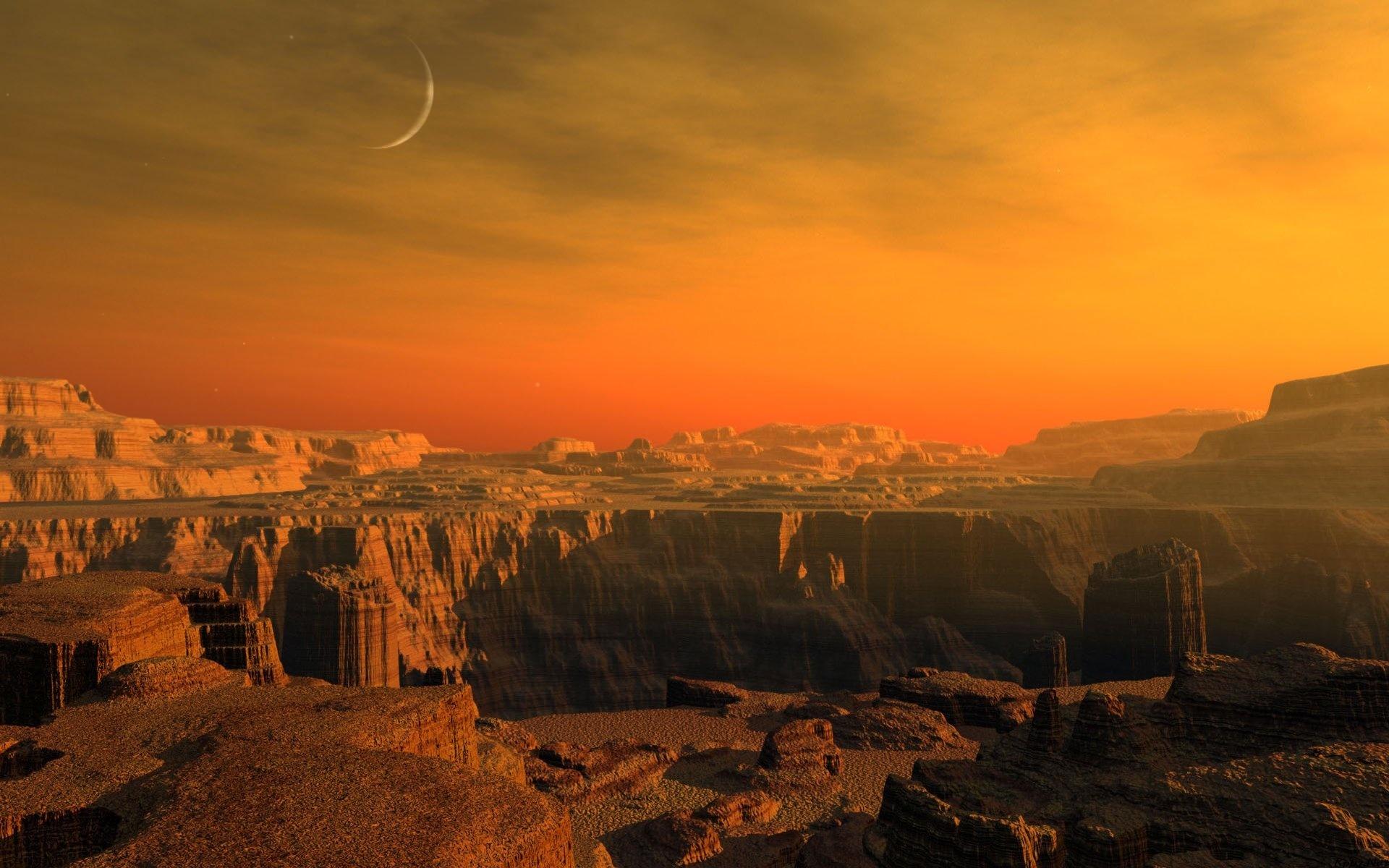 18588 скачать обои Пейзаж, Закат, Горы, Луна - заставки и картинки бесплатно