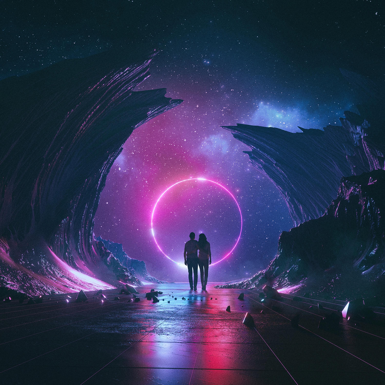 100159 скачать обои Космос, Звездное Небо, Любовь, Пара, Арт, Объятия - заставки и картинки бесплатно