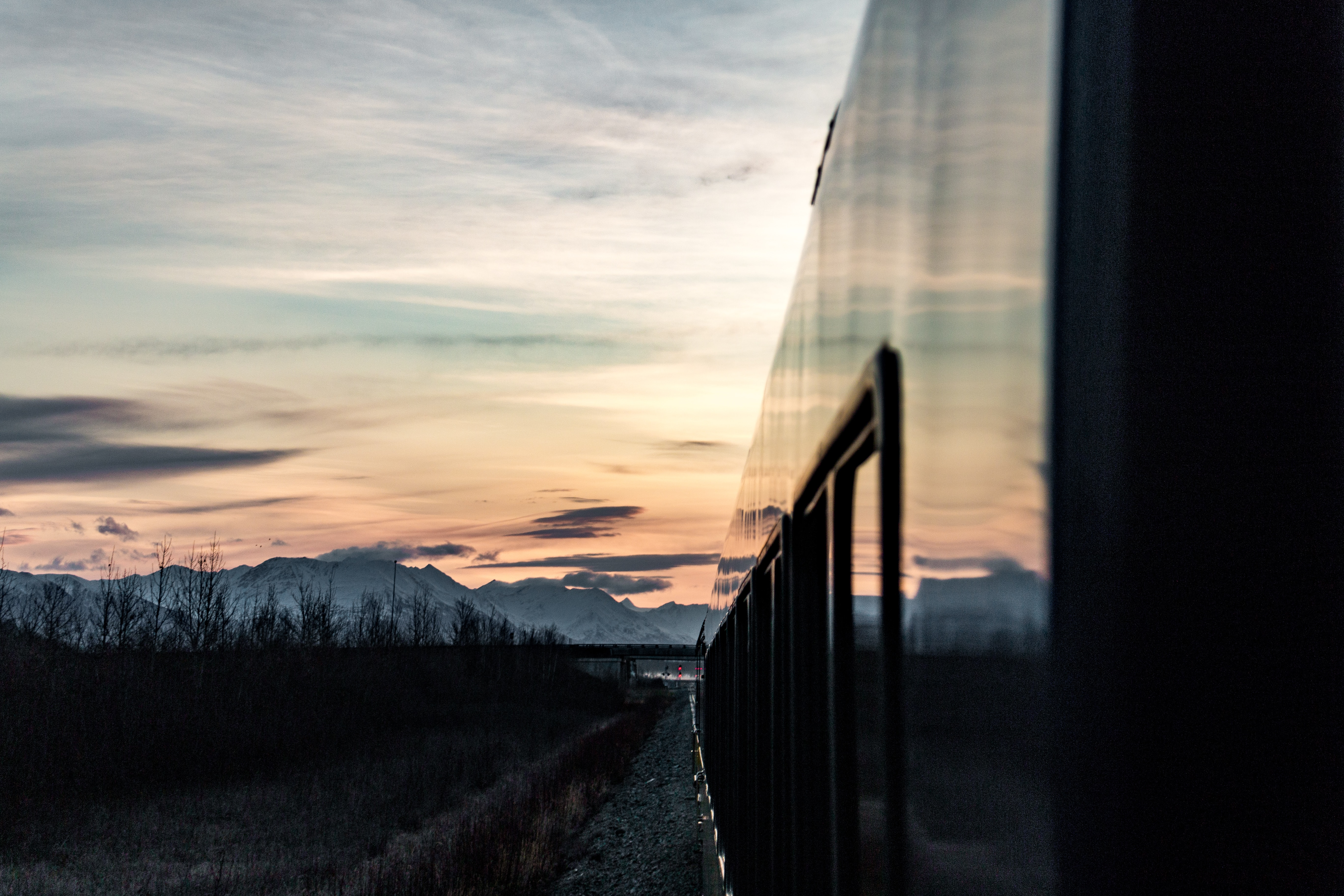 94201 Screensavers and Wallpapers Train for phone. Download Landscape, Sunset, Mountains, Twilight, Miscellanea, Miscellaneous, Dusk, Train pictures for free
