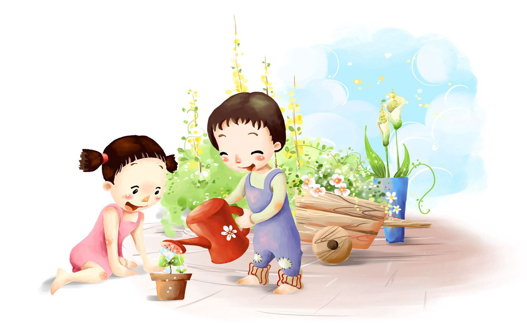 118019 Screensavers and Wallpapers Children for phone. Download Love, Flower, Children, Watering Can pictures for free