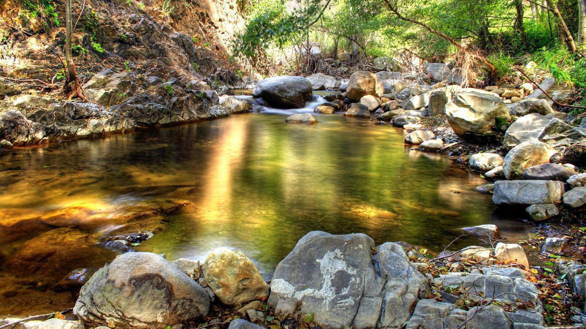 69768 download wallpaper Nature, Stones, Lake, Reflection, Clearances, Gaps, Shadow, Cool, Coolness, Spring, Creek, Brook screensavers and pictures for free