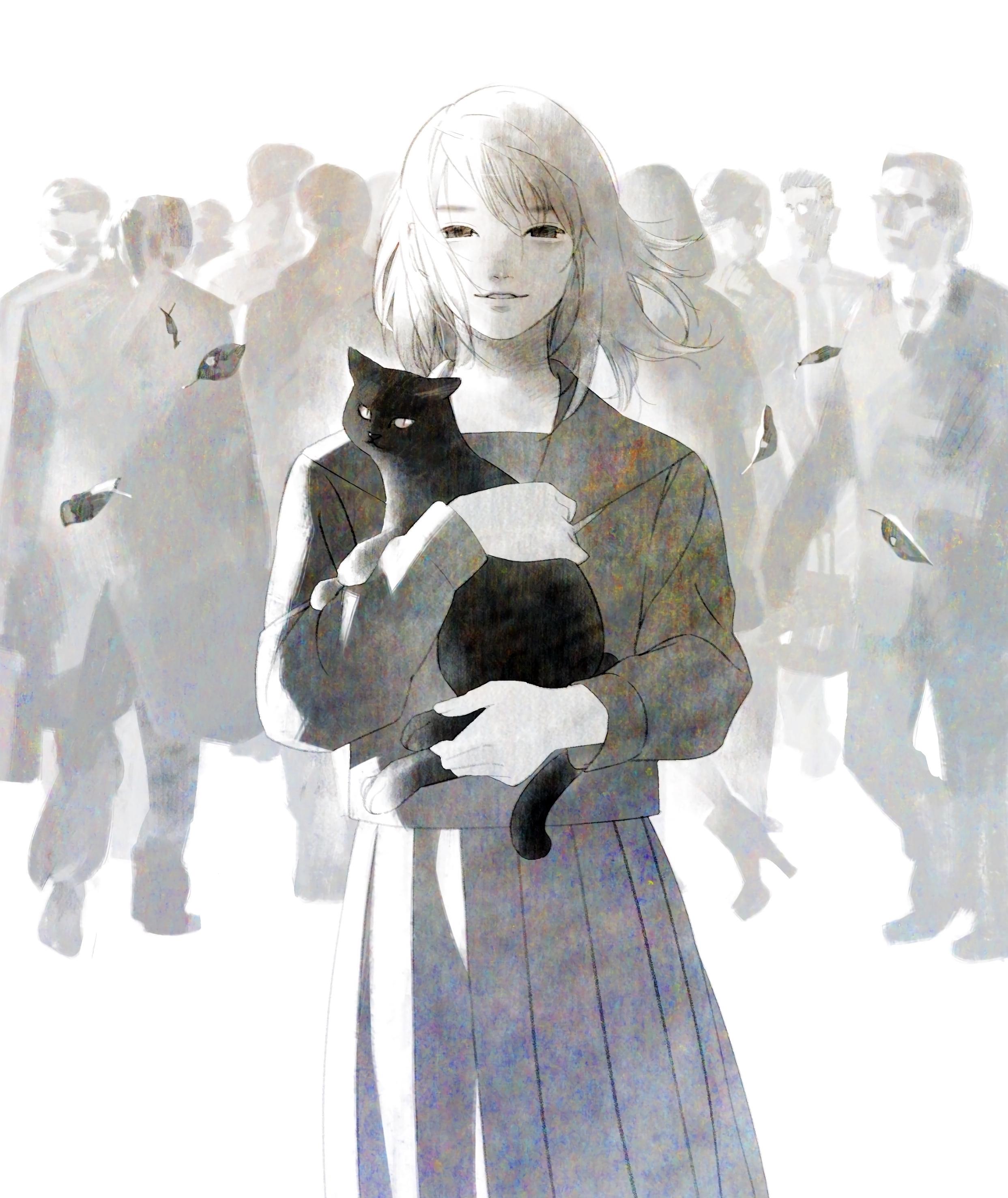 144321 Hintergrundbild herunterladen Anime, Kunst, Der Kater, Katze, Menge, Animeshka - Bildschirmschoner und Bilder kostenlos