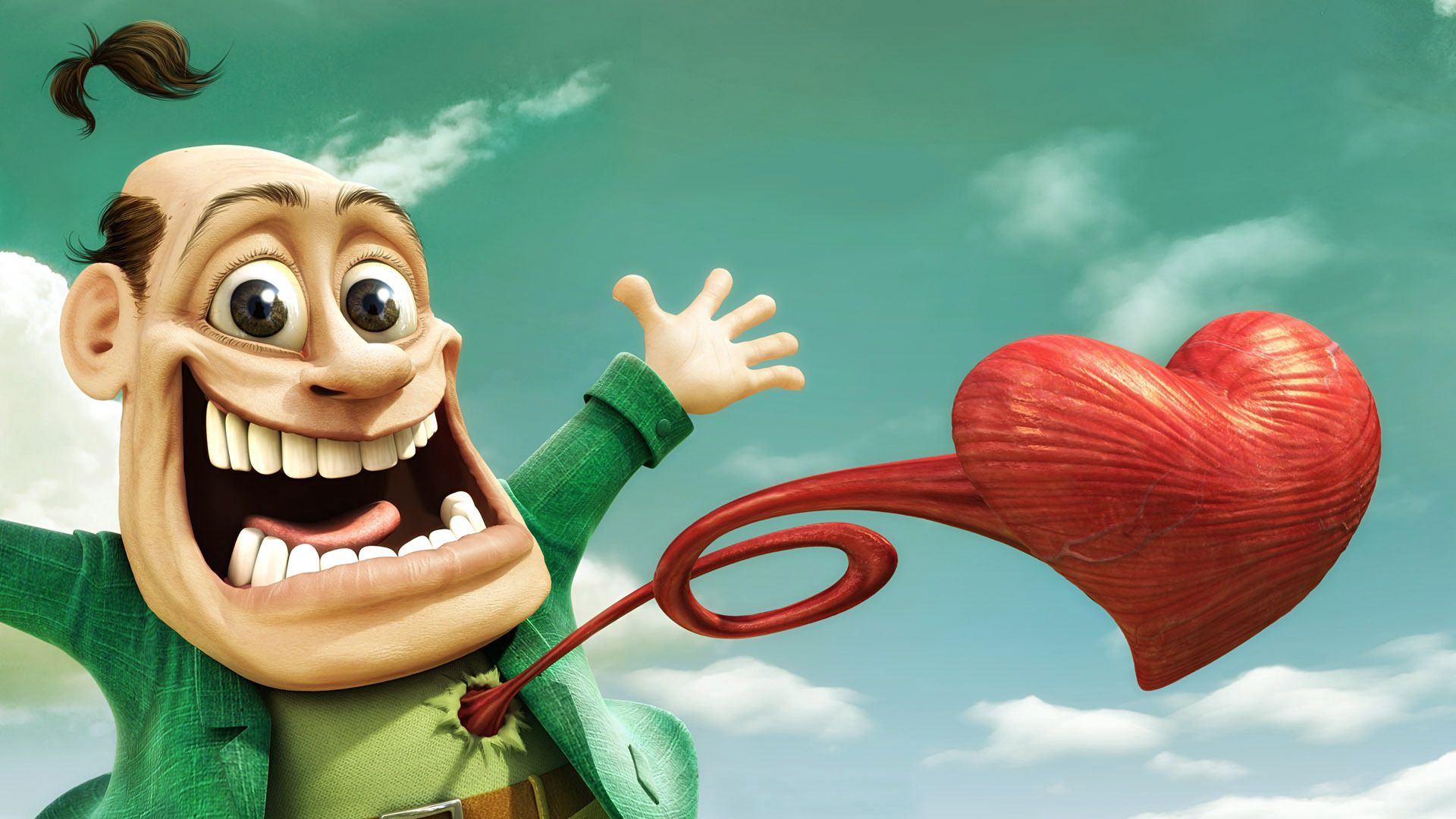 132995 download wallpaper Love, Little Man, Cartoon, Heart, Happiness, Jump Out screensavers and pictures for free