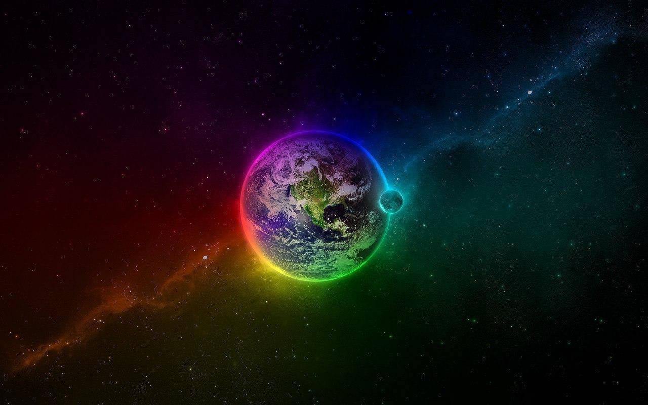 18383 скачать обои Пейзаж, Планеты, Космос, Луна, Радуга - заставки и картинки бесплатно