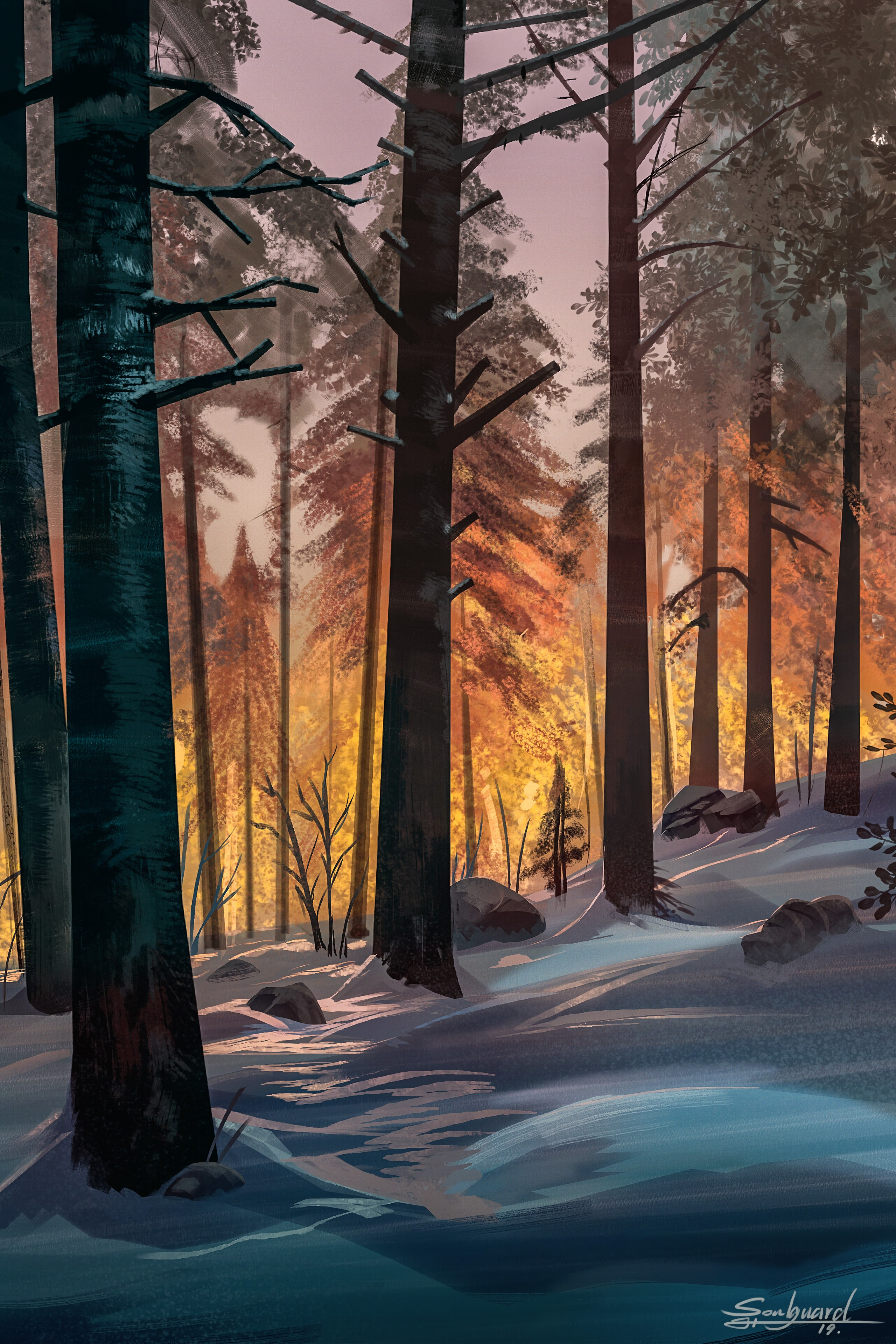 148543 Screensavers and Wallpapers Art for phone. Download Art, Landscape, Trees, Snow, Forest pictures for free