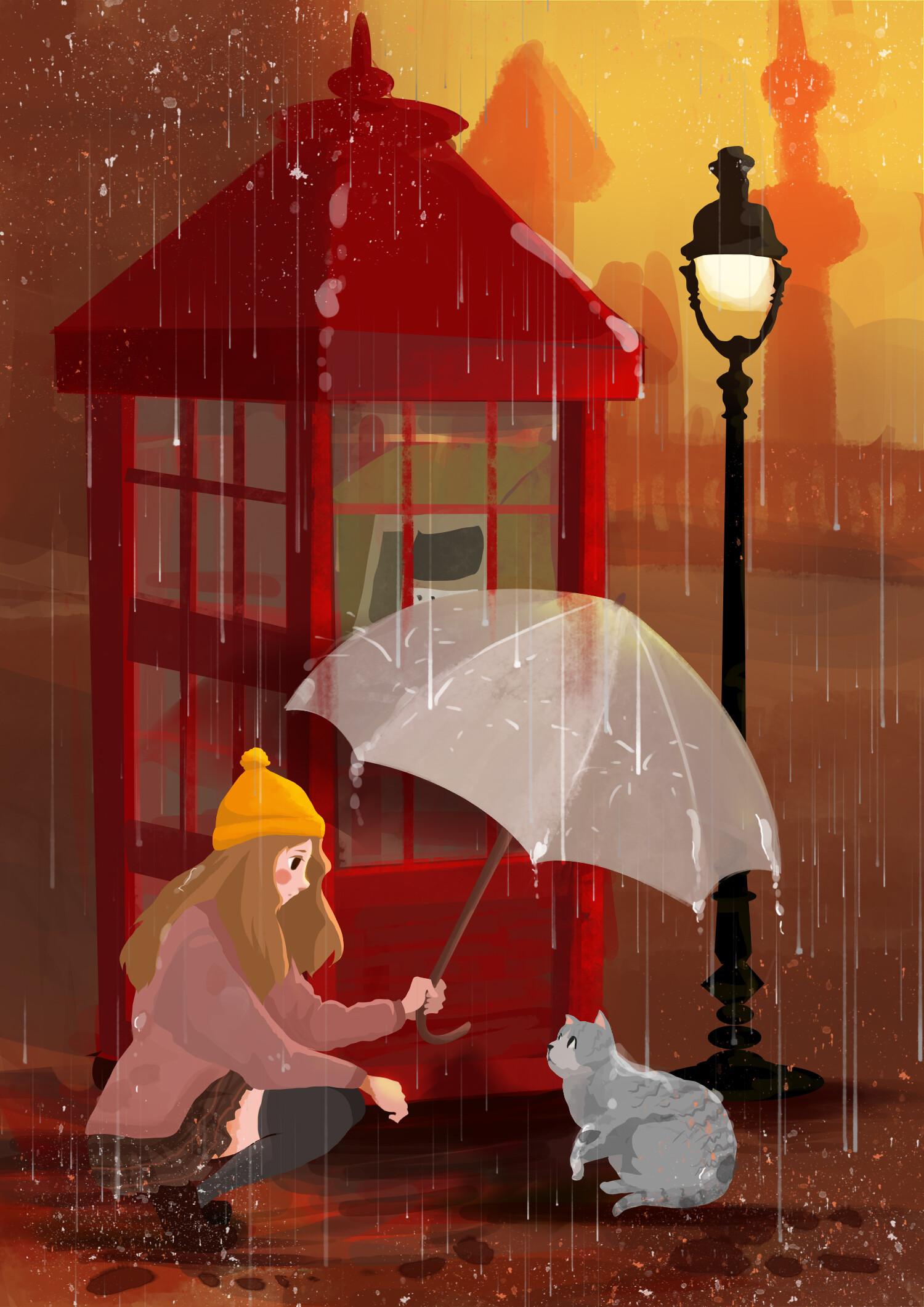 113113壁紙のダウンロード女の子, ネコ, 猫, 傘, 雨, アート-スクリーンセーバーと写真を無料で
