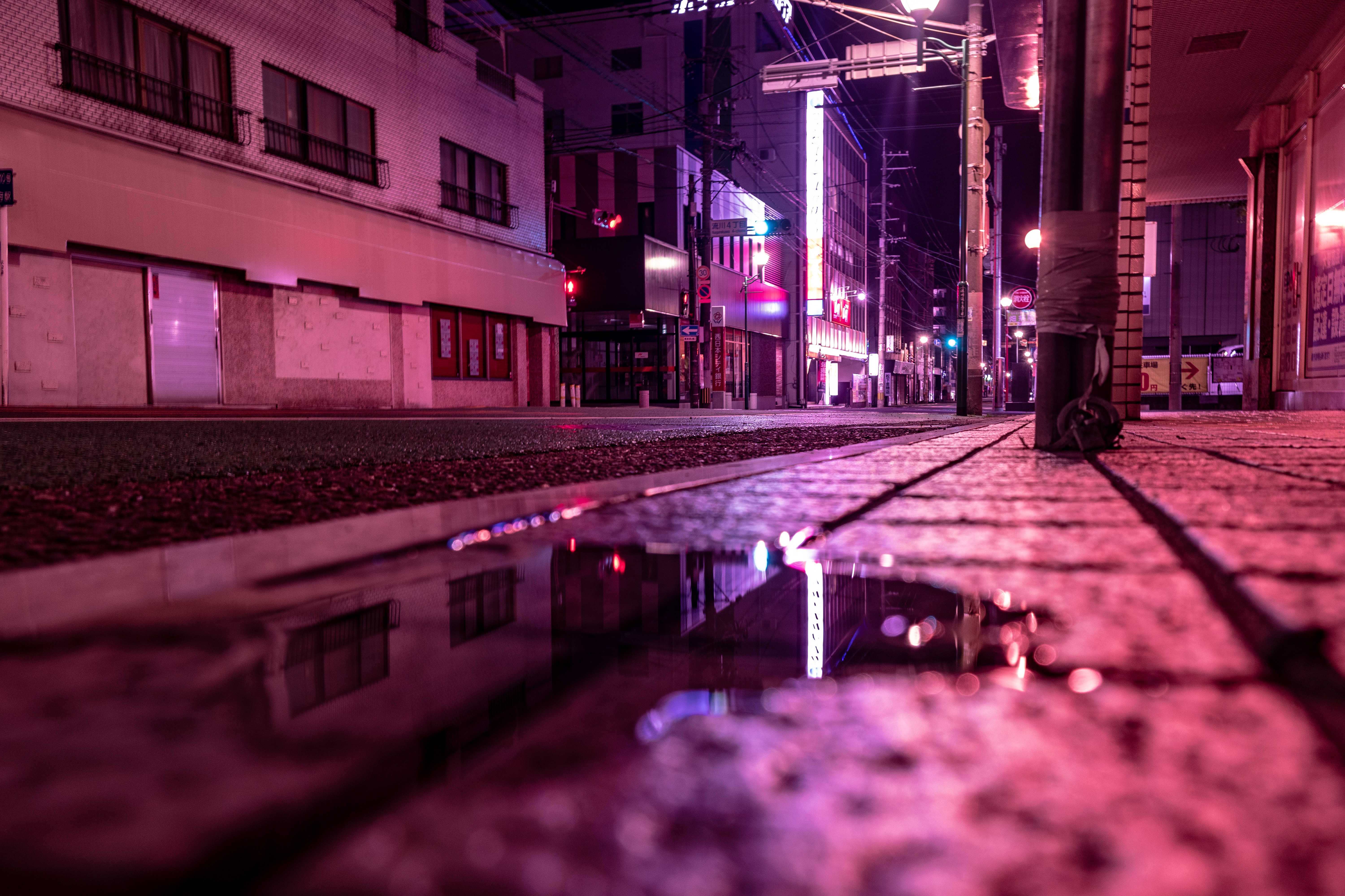 80059 Screensavers and Wallpapers Cities for phone. Download Night, Light, Cities, Shine, Neon, Street, Puddle pictures for free