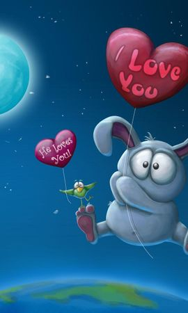 15009 download wallpaper Funny, Animals, Rabbits, Love, Valentine's Day, Pictures screensavers and pictures for free