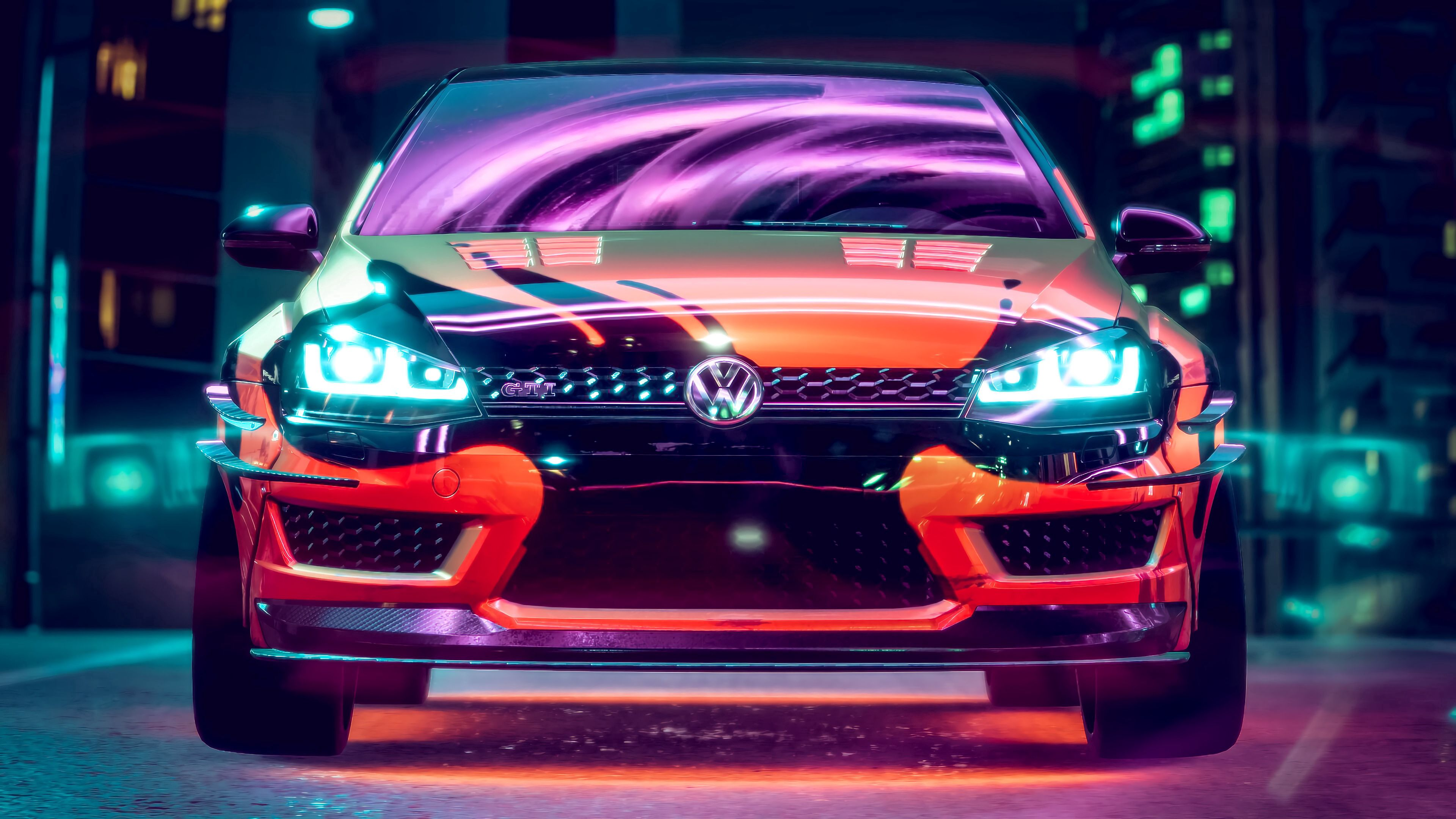 70479 download wallpaper Volkswagen, Tuning, Cars, Car, Machine, Neon, Backlight, Illumination, Volkswagen Golf Gti screensavers and pictures for free