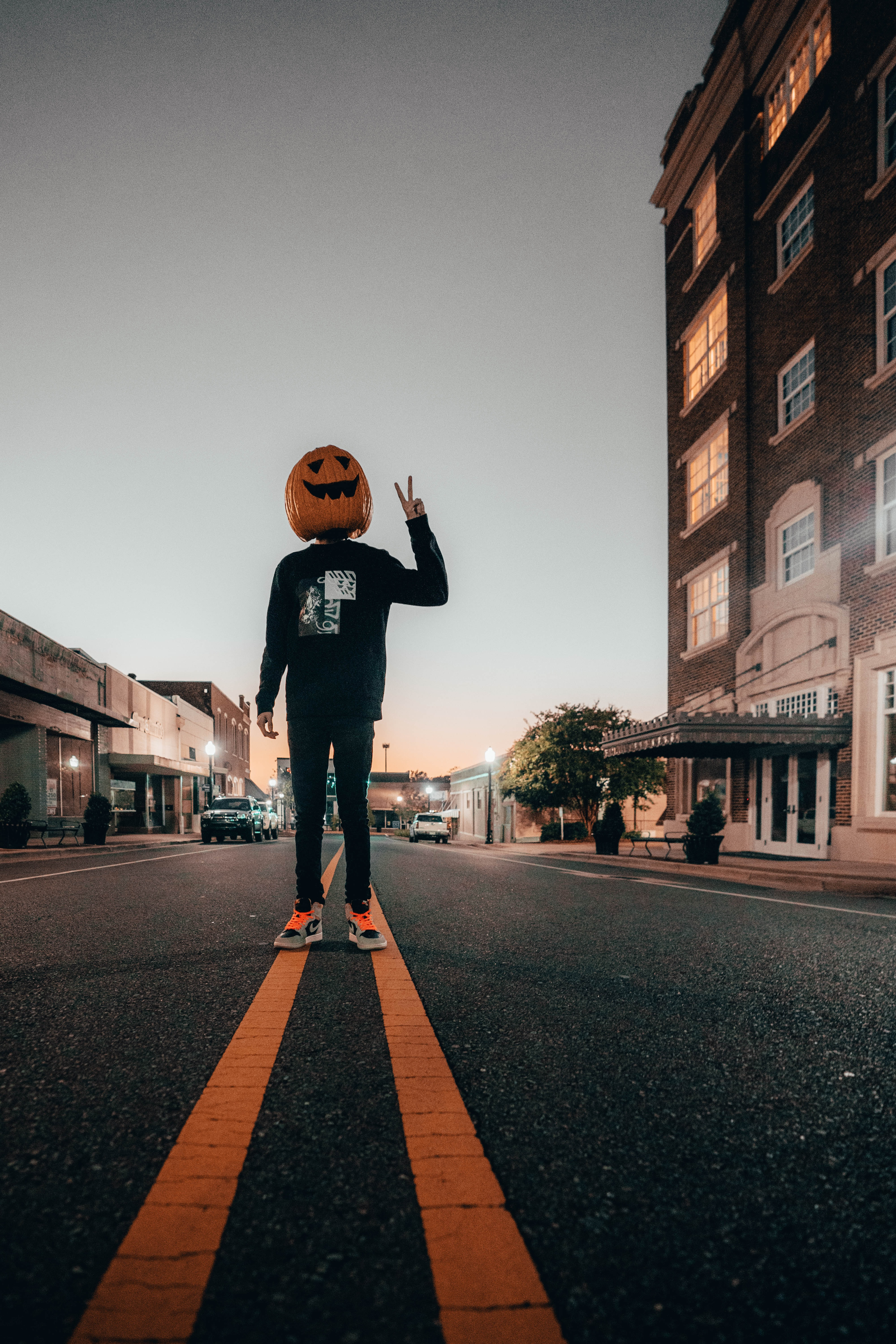 143441 download wallpaper Halloween, Miscellanea, Miscellaneous, Road, Markup, Human, Person, Gesture screensavers and pictures for free