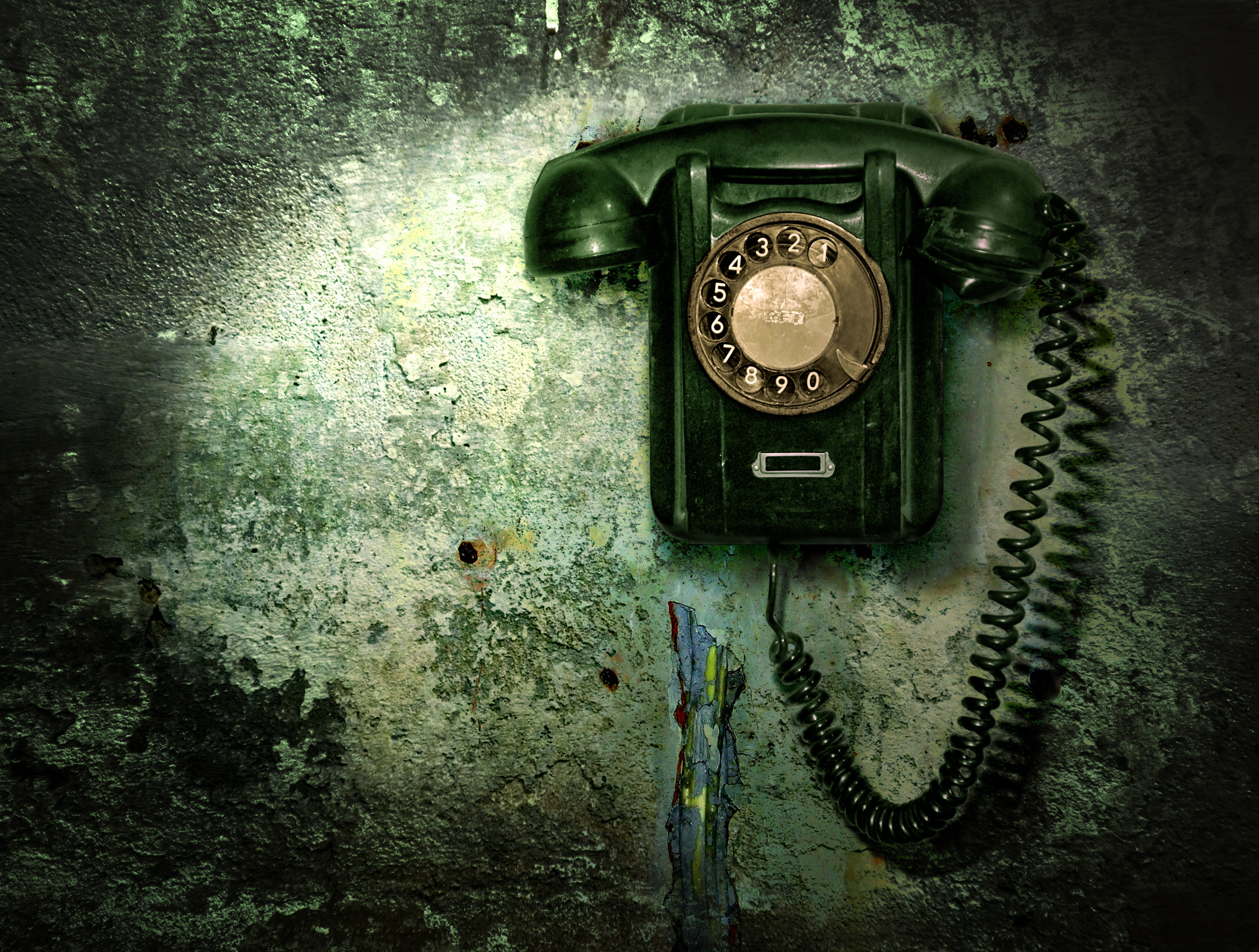 130992 download wallpaper Wall, Miscellanea, Miscellaneous, Wire, Telephone screensavers and pictures for free