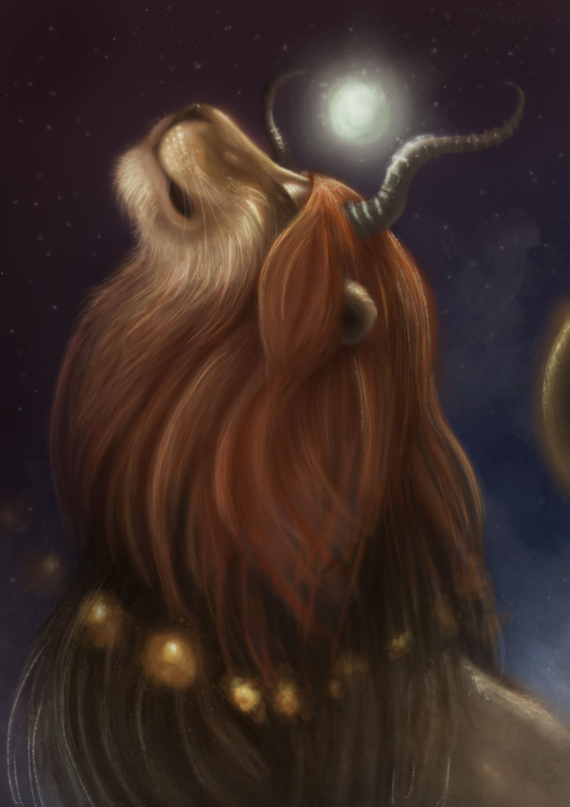 146070 download wallpaper Lion, Mane, Horns, Fantastic, Art screensavers and pictures for free