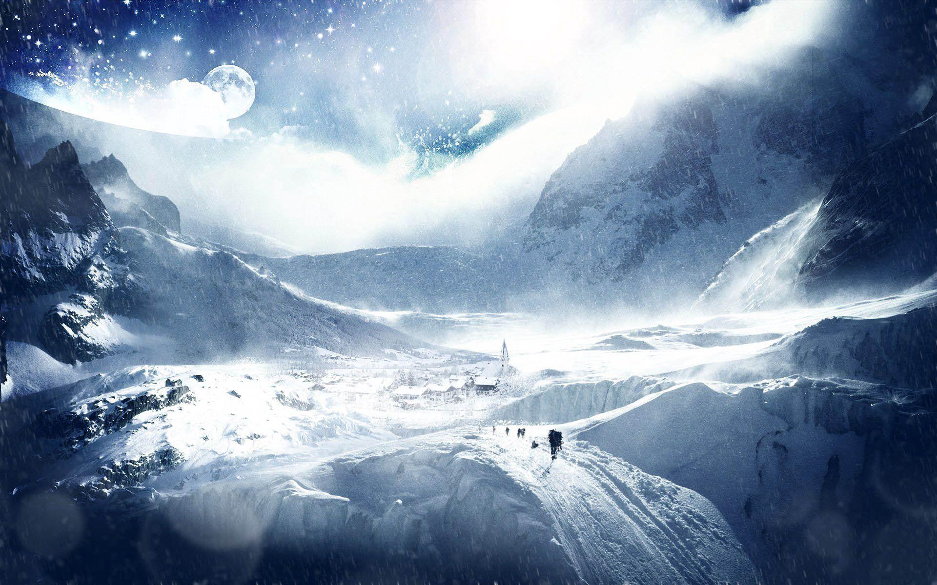 86933 descargar fondo de pantalla Fantasía, Árboles, Planeta, Tierra, Cielo, Esquiadores, Estudio, Exploración, Estrellas: protectores de pantalla e imágenes gratis