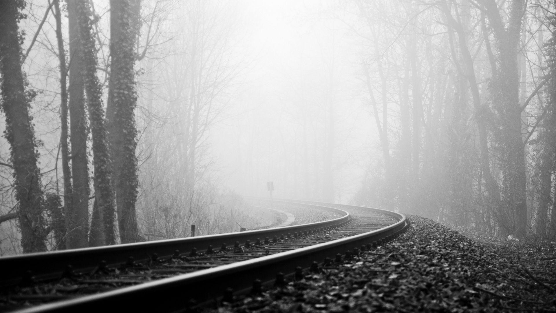 121212 baixar papel de parede Natureza, Trilhos, Estrada De Ferro, Ferrovia, Névoa, Nevoeiro, Vez, Virar, Preto E Branco, Sombrio - protetores de tela e imagens gratuitamente