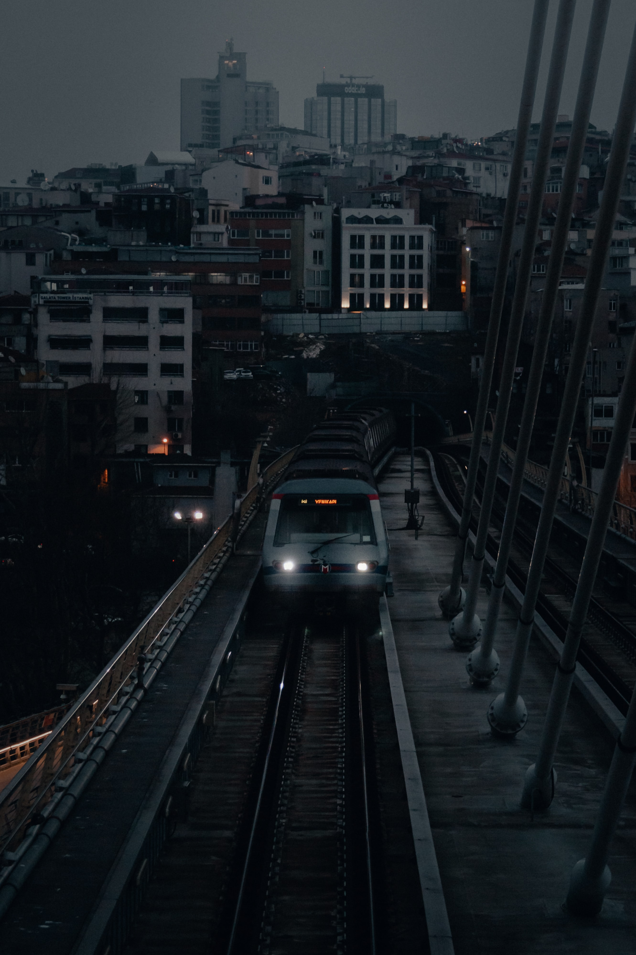 104892 download wallpaper City, Railway, Train, Building, Dusk, Twilight, Cities screensavers and pictures for free