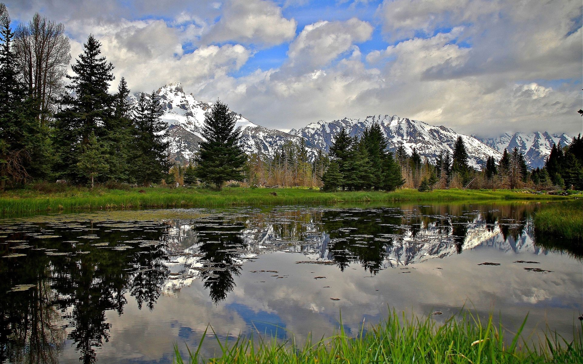 56760 free wallpaper 320x480 for phone, download images Nature, Rivers, Trees, Grass, Mountain 320x480 for mobile