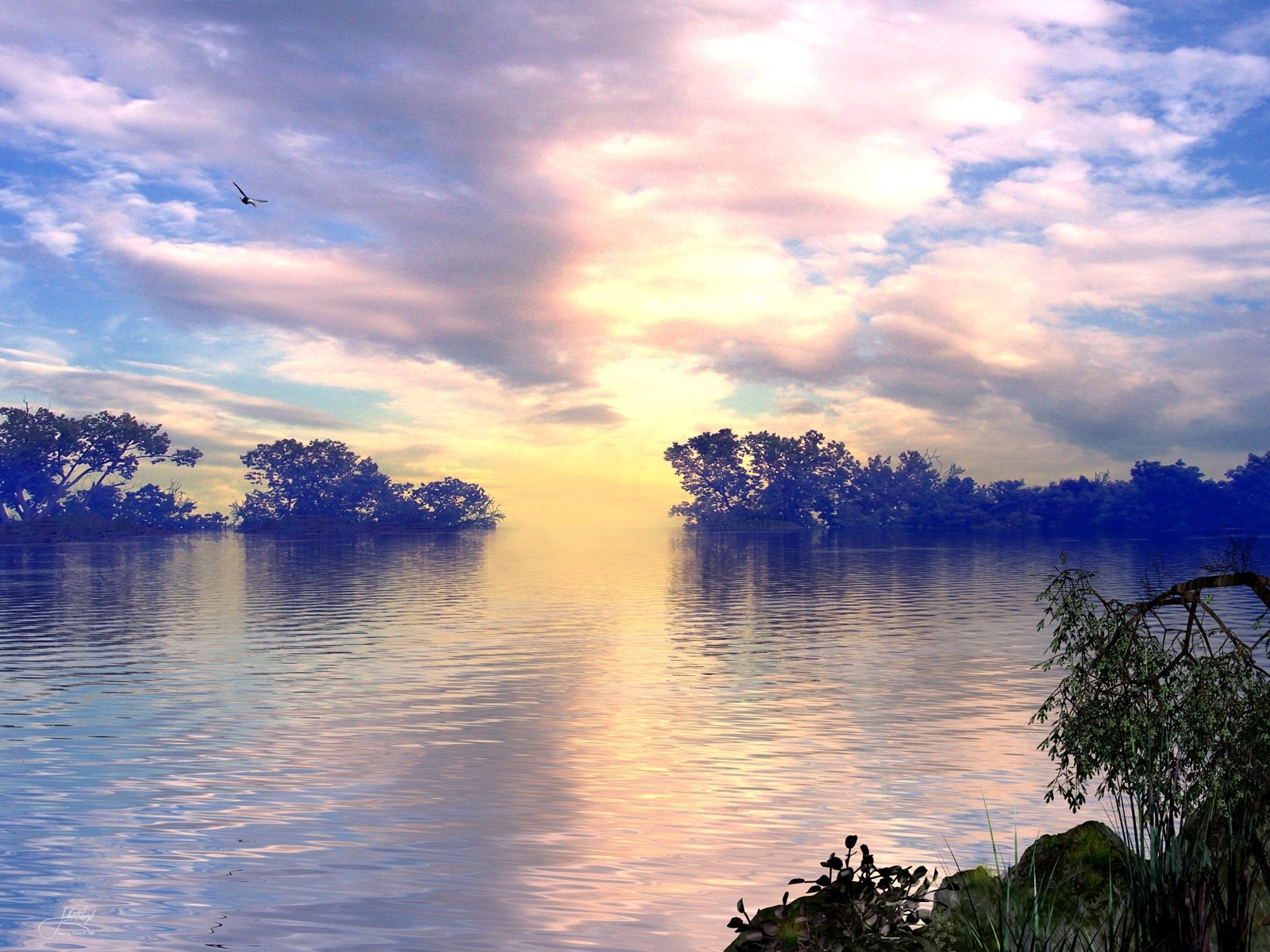 8292 download wallpaper Landscape, Water, Sky, Lakes screensavers and pictures for free