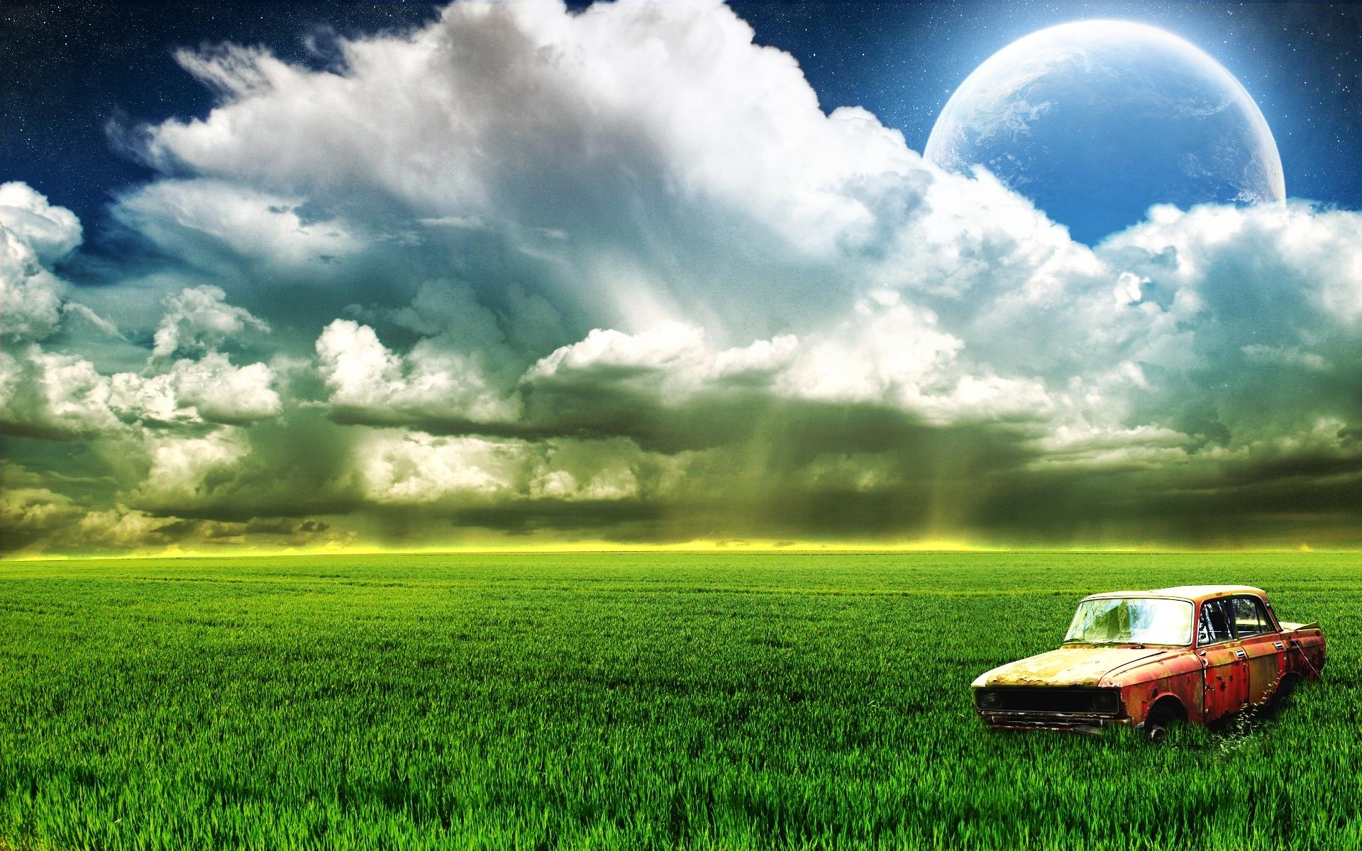 6842 скачать обои Пейзаж, Машины, Трава, Планеты, Москвич - заставки и картинки бесплатно