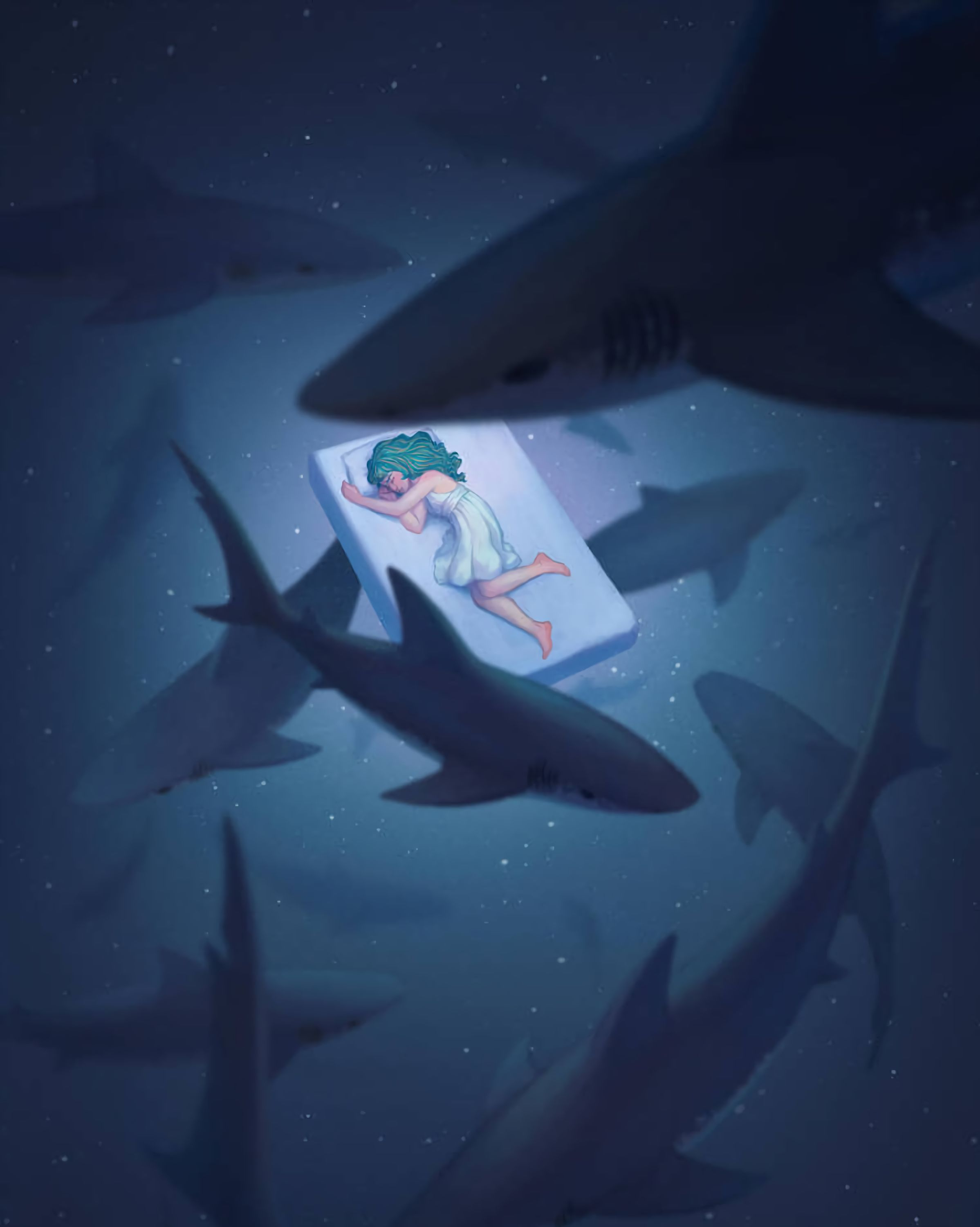 128278 download wallpaper Sleep, Dream, Underwater World, Girl, Art, Sharks screensavers and pictures for free