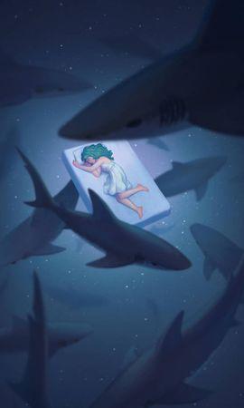 128278 baixar papel de parede Dormir, Sonho, Mundo Subaquático, Menina, Garota, Arte, Sharks - protetores de tela e imagens gratuitamente