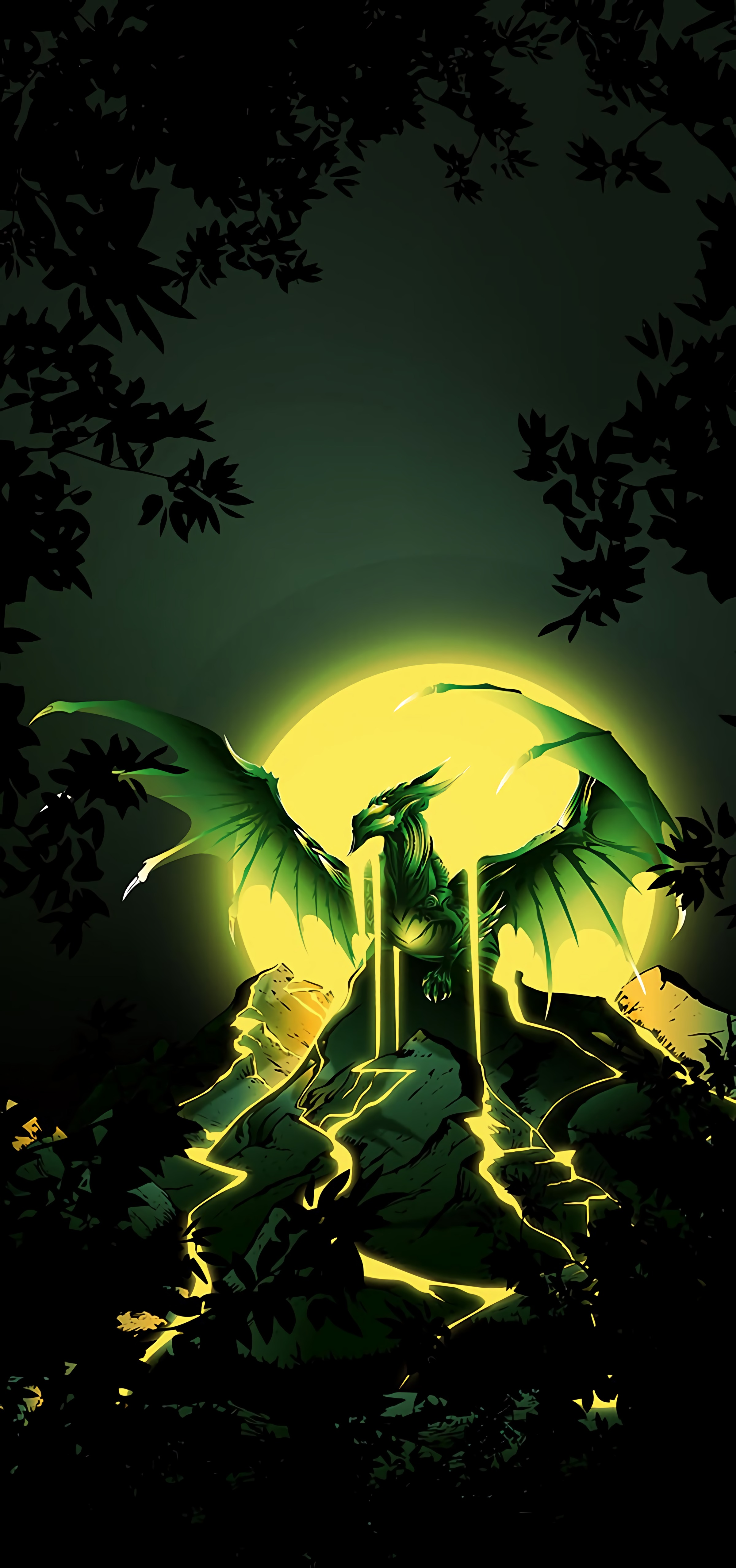 92535 download wallpaper Dragon, Wings, Moon, Art, Mountains screensavers and pictures for free