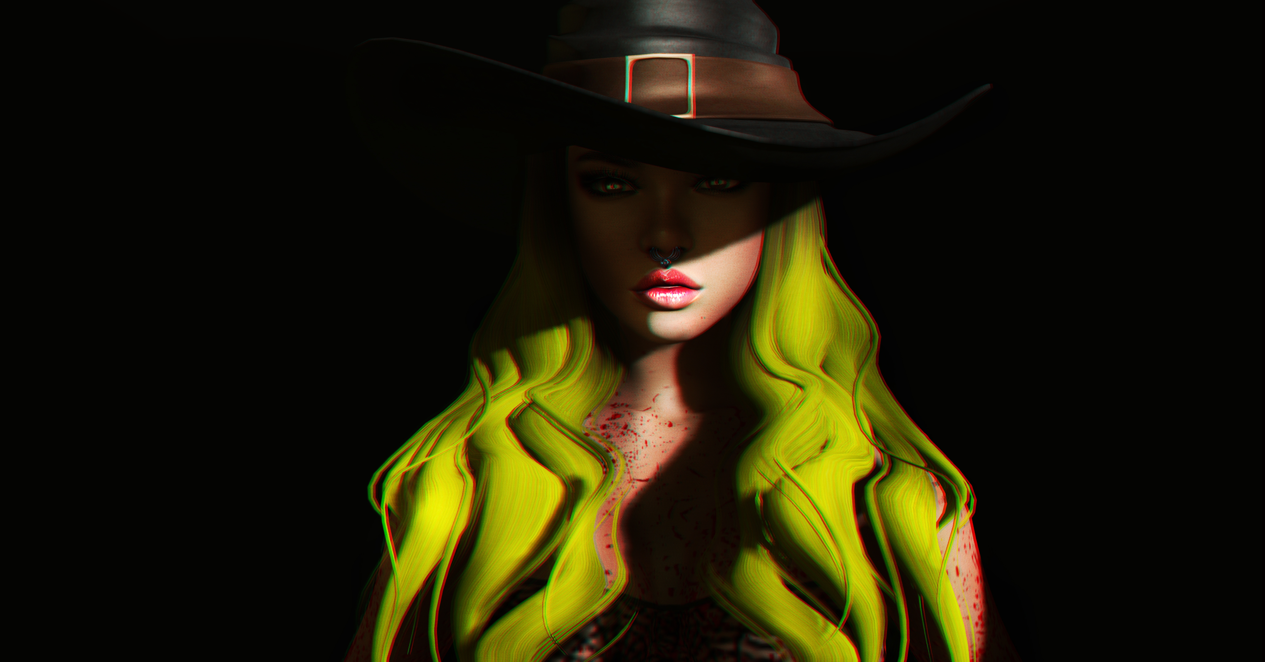 67331 download wallpaper Halloween, Art, 3D, Shadow, Girl, Hat screensavers and pictures for free