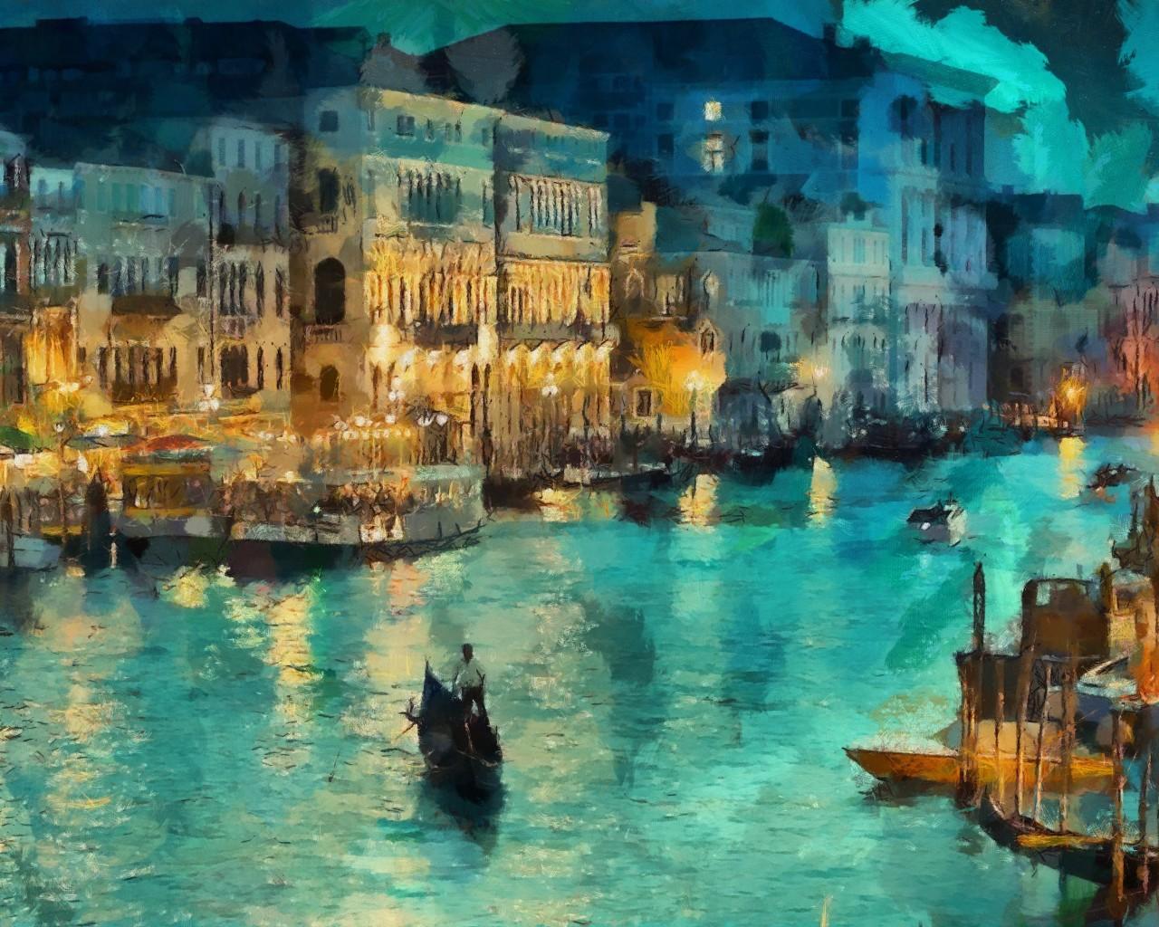 38140 скачать обои Города, Река, Рисунки, Венеция - заставки и картинки бесплатно