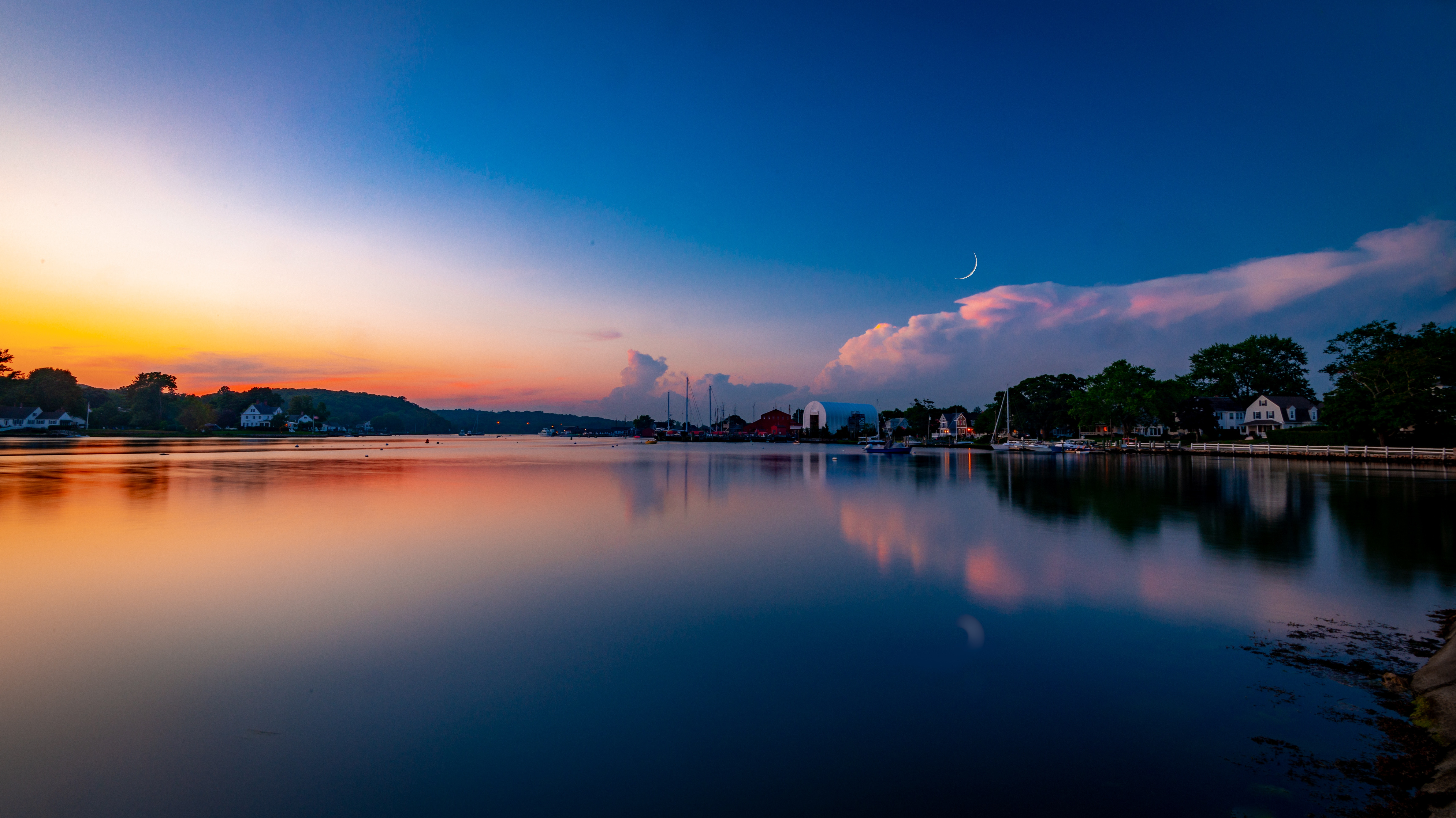 78392 free wallpaper 1080x2400 for phone, download images Nature, Sunset, Twilight, Moon, Lake, Dusk, Buildings 1080x2400 for mobile