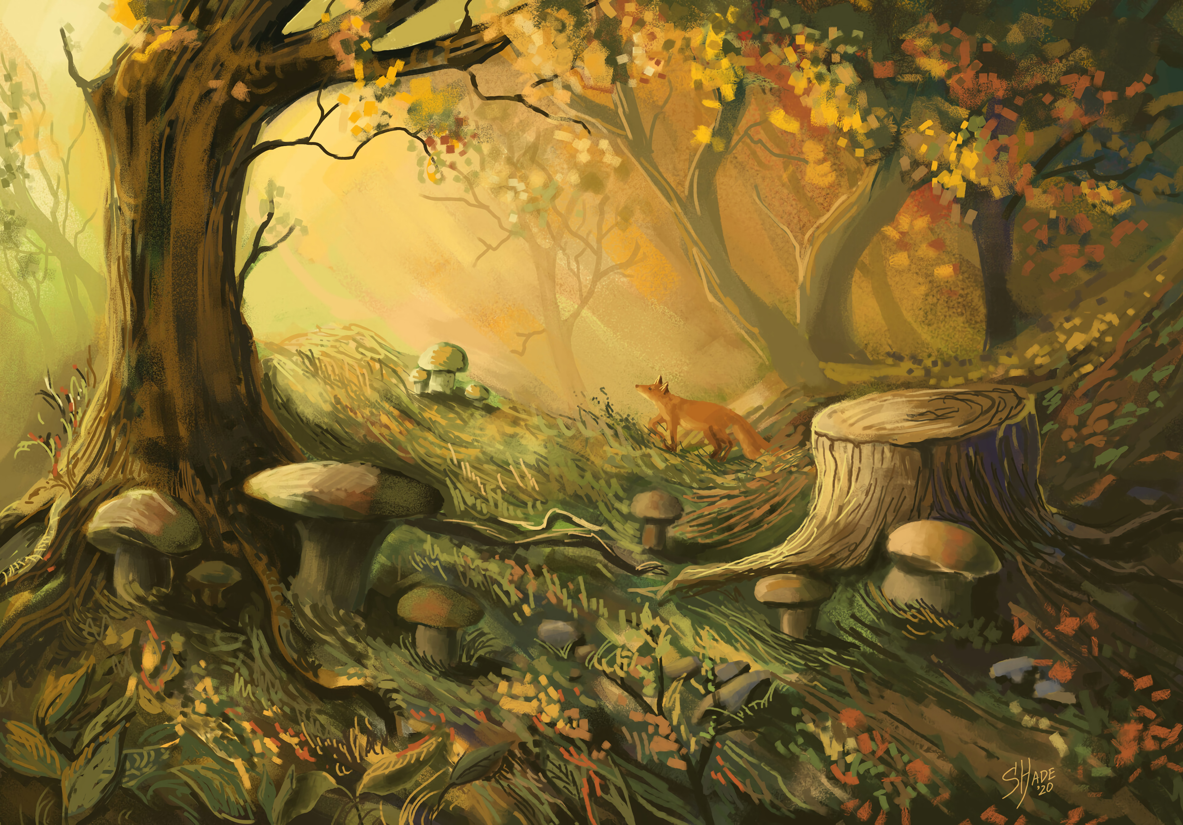 117311 Screensavers and Wallpapers Mashrooms for phone. Download Trees, Art, Mashrooms, Fox, Forest pictures for free