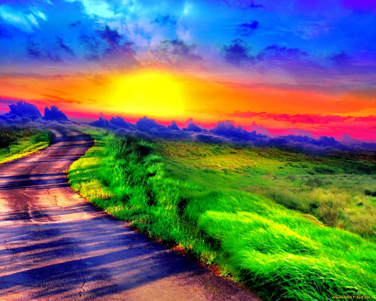 16248 download wallpaper Landscape, Roads, Art Photo screensavers and pictures for free