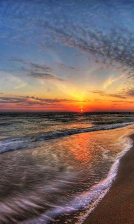 76581 скачать обои Природа, Море, Закат, Небо, Прибой - заставки и картинки бесплатно