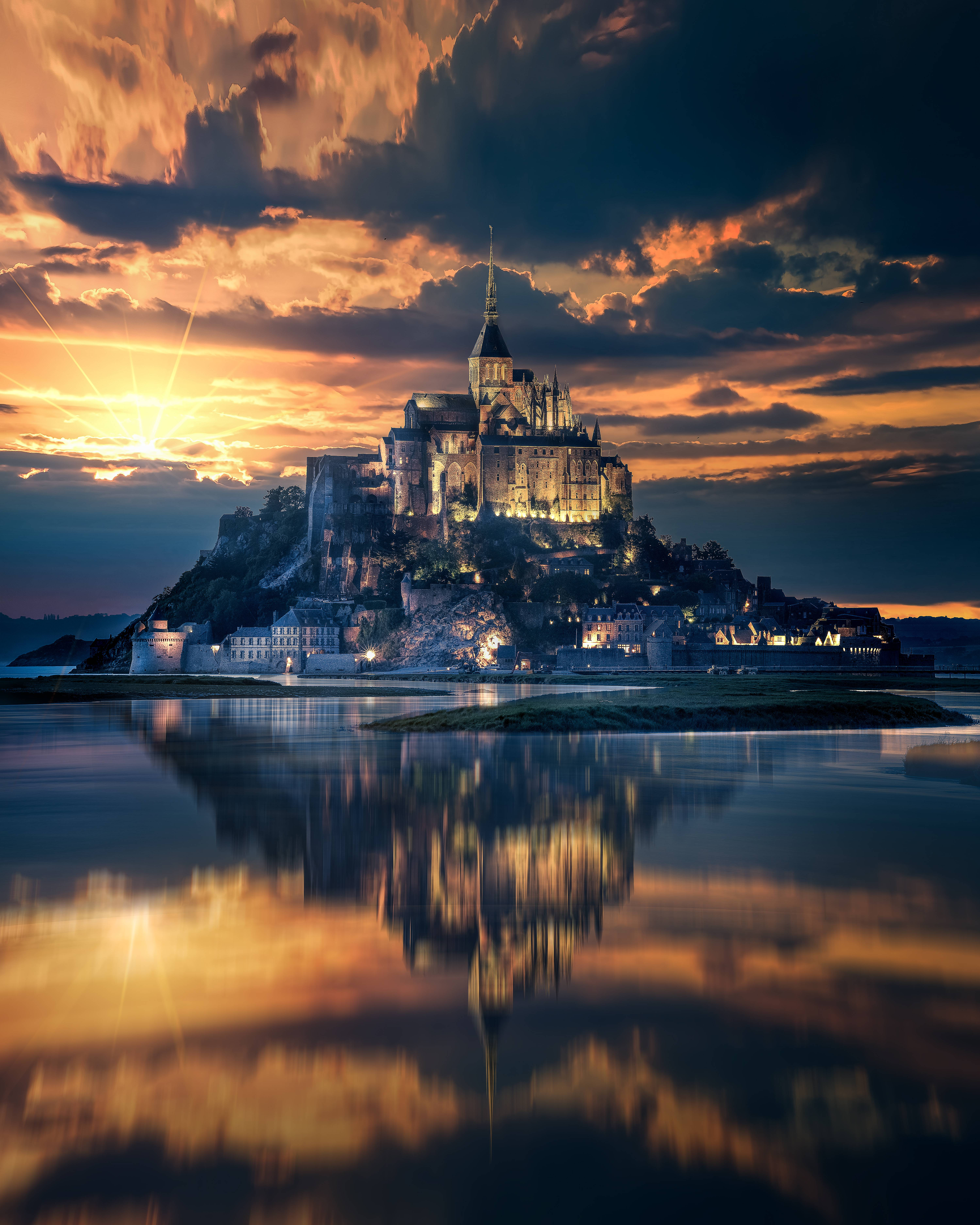 60434 Screensavers and Wallpapers Island for phone. Download Cities, Lock, France, Island, Mont Saint Michel, Mont-Saint-Michel pictures for free