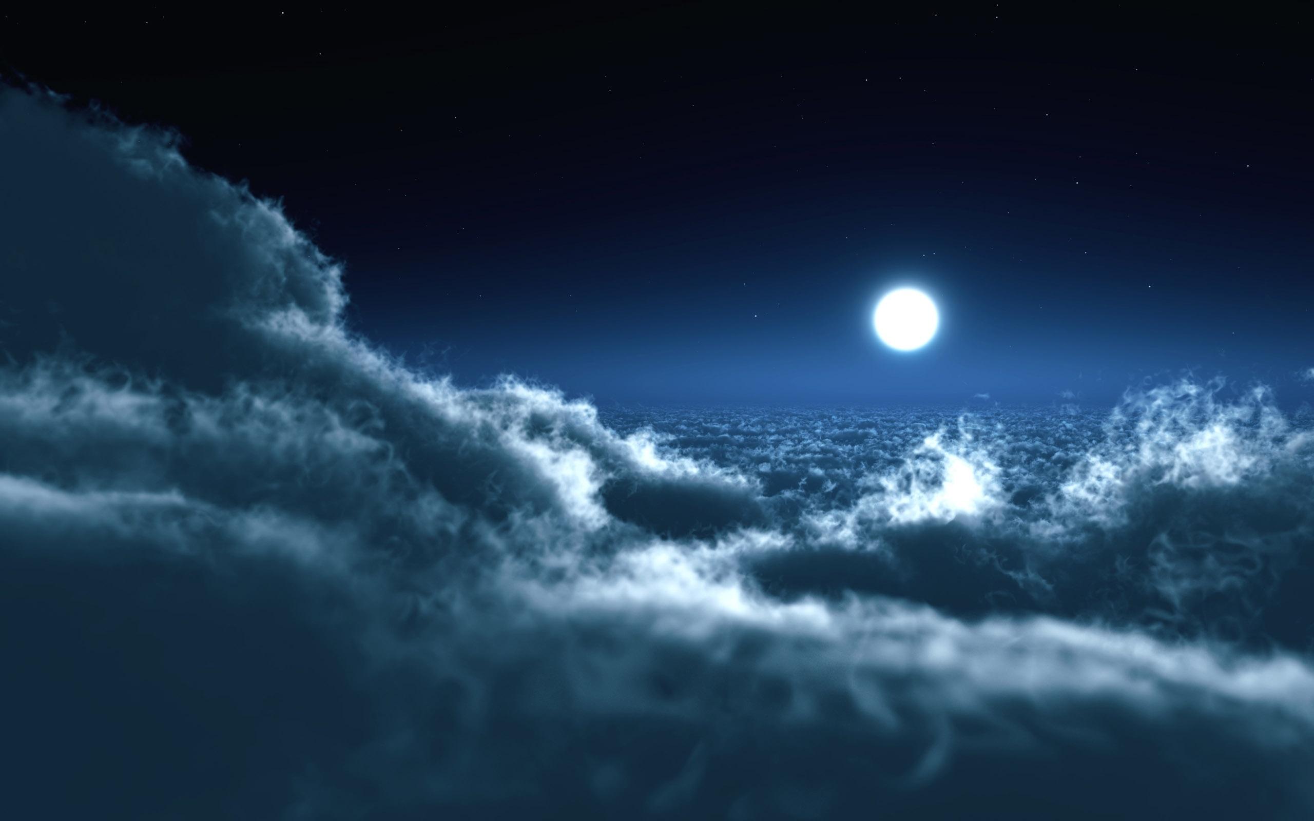 27915 скачать обои Пейзаж, Небо, Ночь, Облака, Луна - заставки и картинки бесплатно