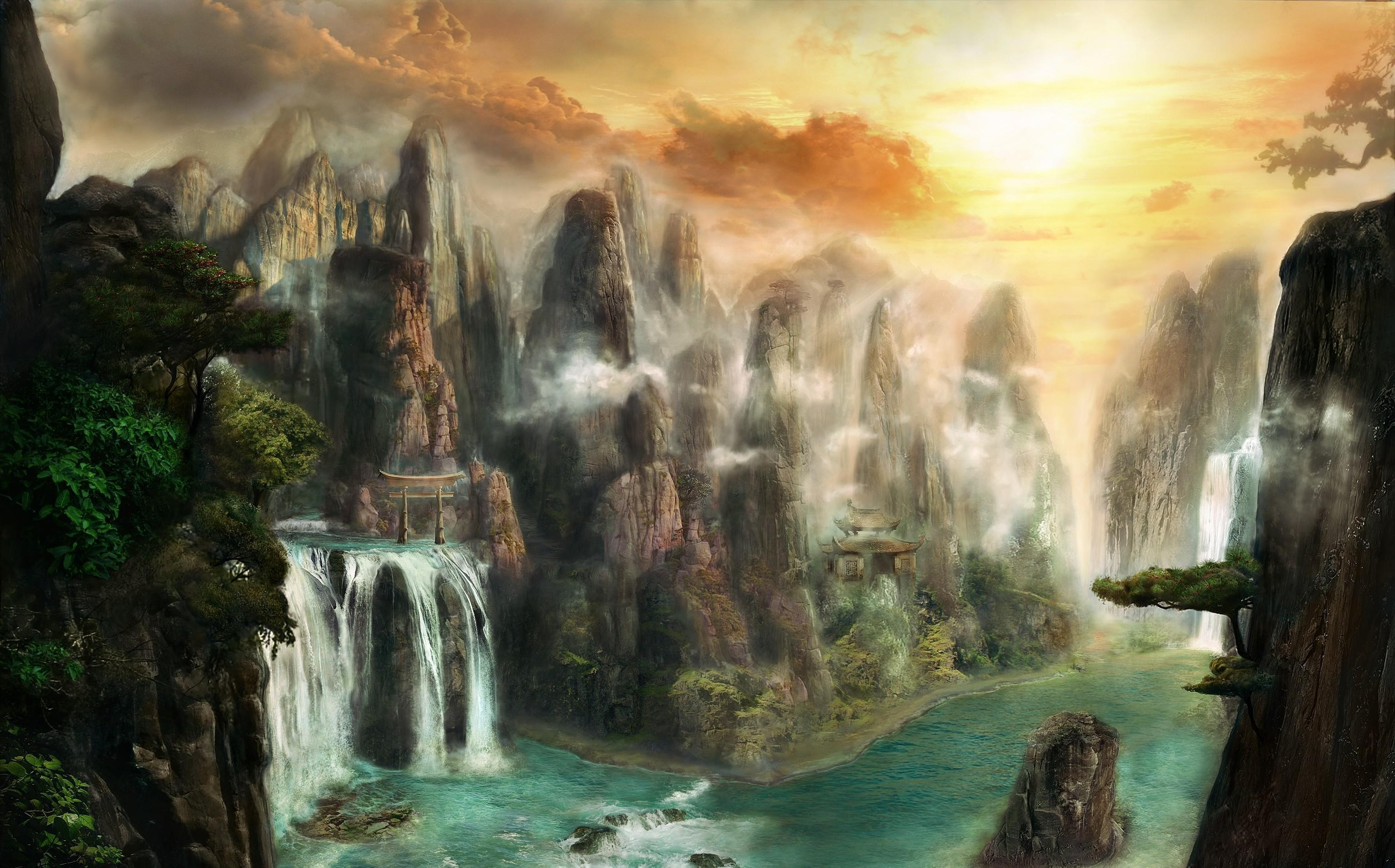 74255 download wallpaper Fantasy, Rocks, Waterfall, Fog, Nature screensavers and pictures for free