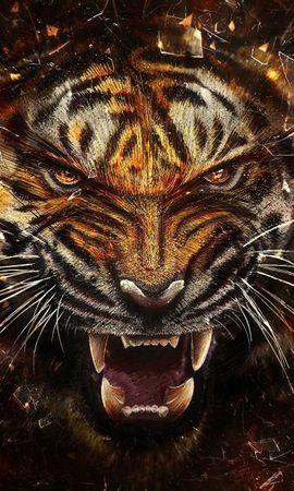 95682 免費下載壁紙 抽象, 老虎, 虎, 玻璃, 碎片, 侵略, 咧嘴笑, 奥斯卡尔 屏保和圖片