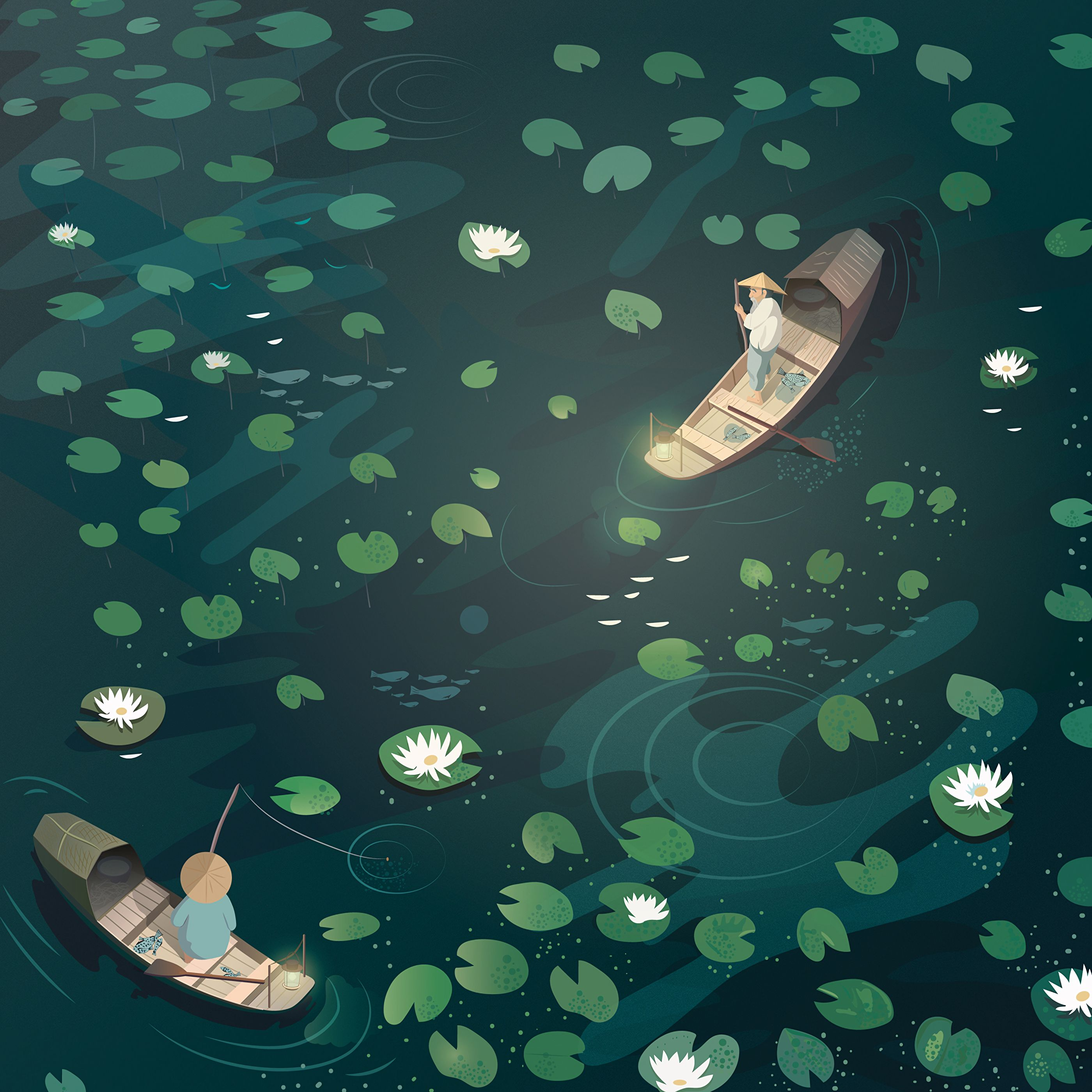 94951 Screensavers and Wallpapers Boat for phone. Download Art, Water Lilies, Boat, Fisherman pictures for free