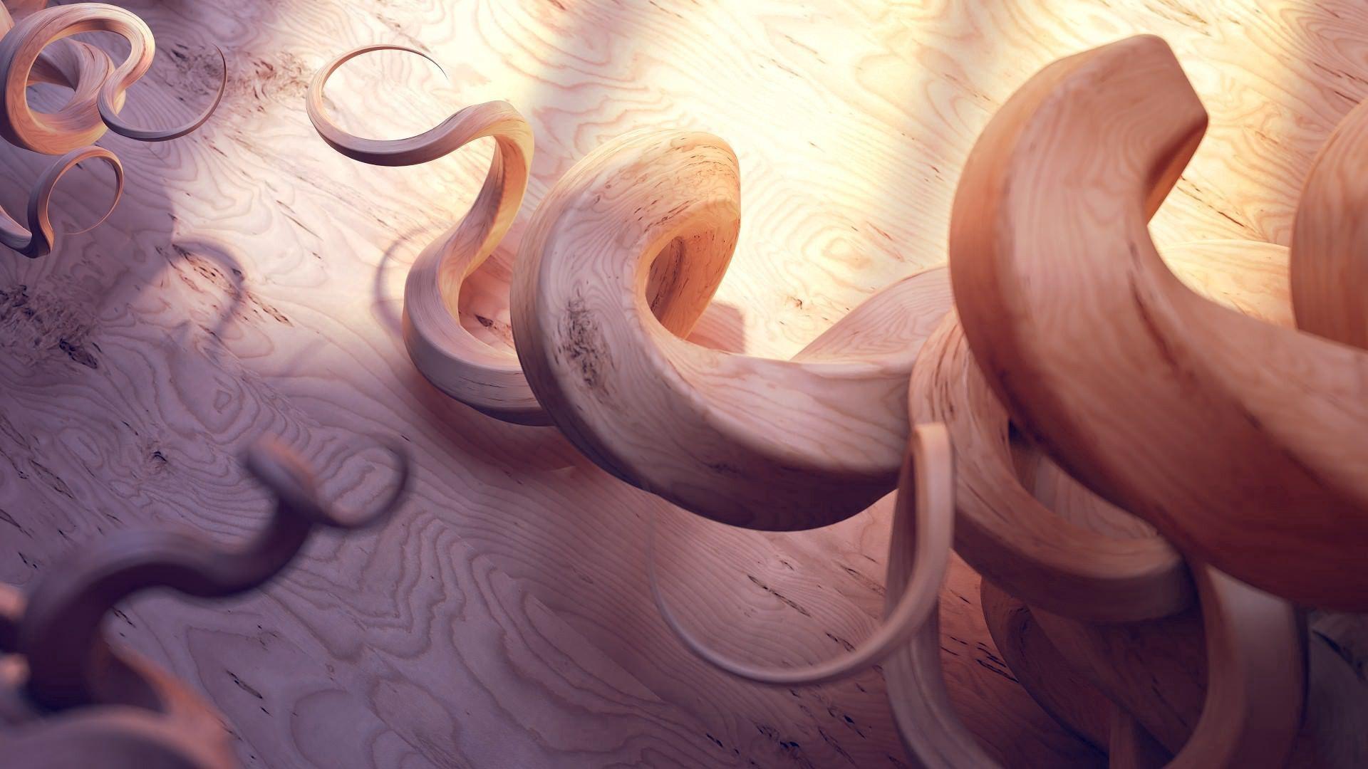 89064 Hintergrundbild herunterladen Holz, Baum, 3D, Schatten, Chip, Spirale, Spiralen, Rasuren - Bildschirmschoner und Bilder kostenlos