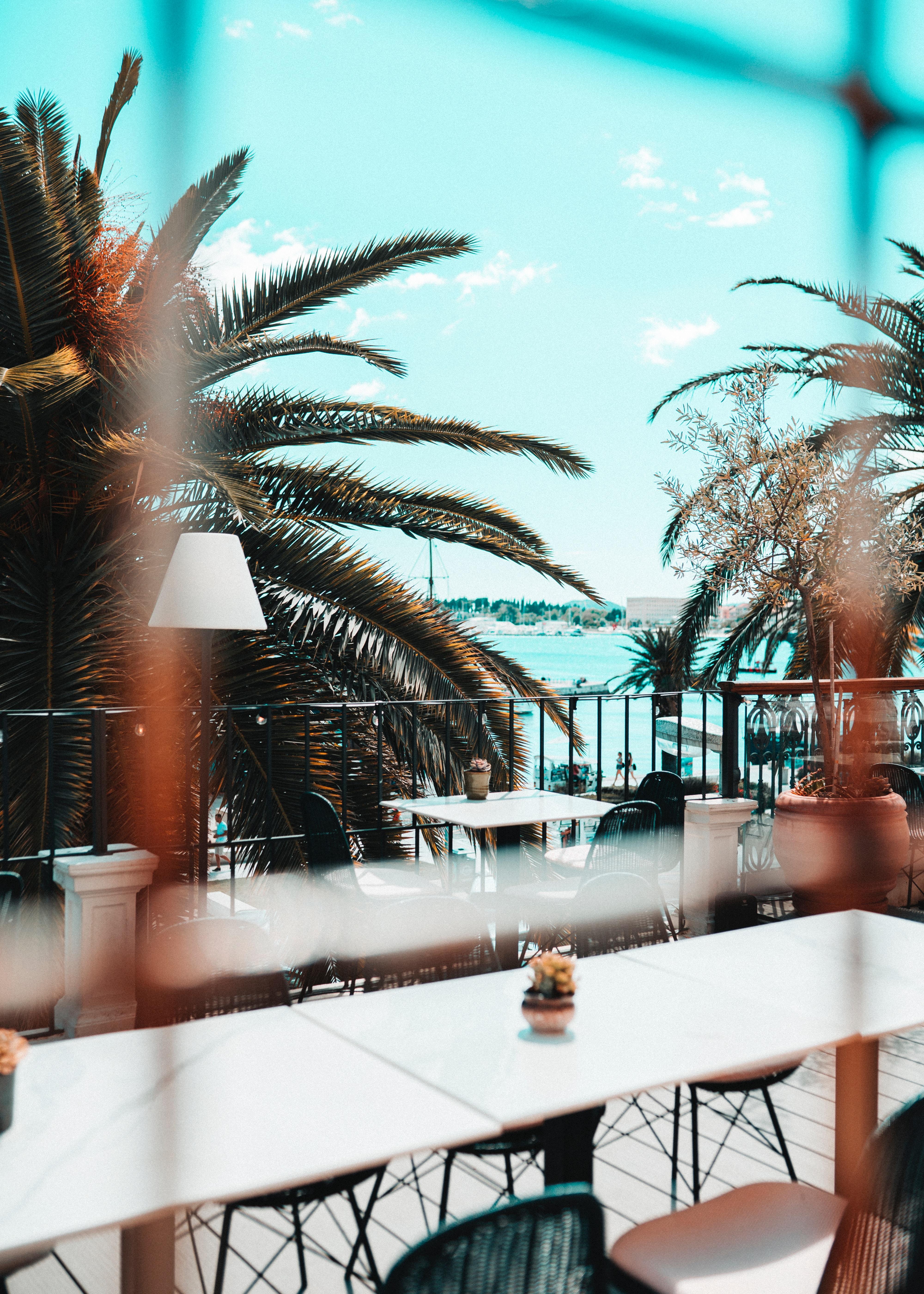 124006 скачать обои Пляж, Пальмы, Интерьер, Разное, Мебель, Терраса - заставки и картинки бесплатно