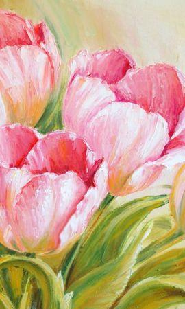 21156 скачать обои Растения, Цветы, Тюльпаны, Рисунки - заставки и картинки бесплатно