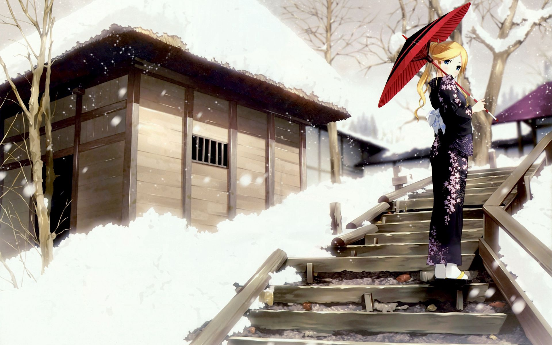 97261 download wallpaper Anime, Animeshka, Geisha, Kimono, Winter, Stroll screensavers and pictures for free