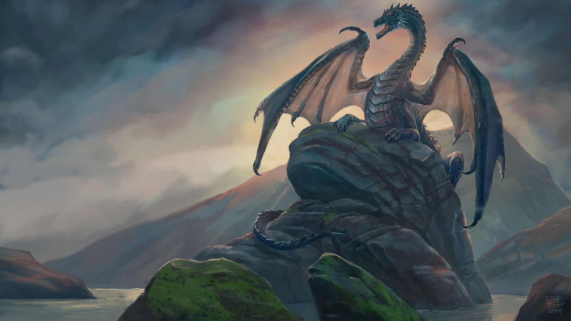 130444 download wallpaper Fantasy, Dragon, Rocks, Art, Stones screensavers and pictures for free